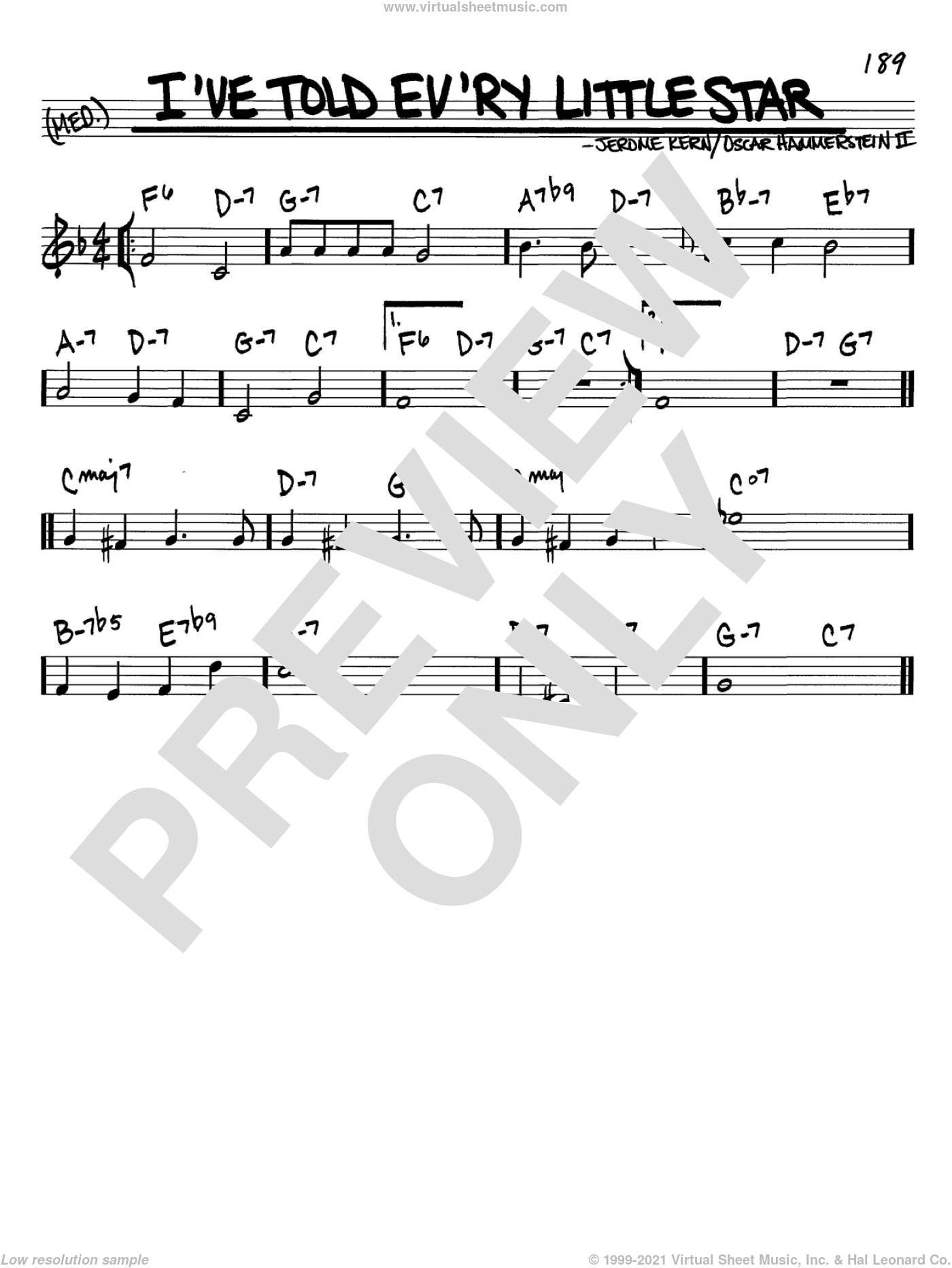 I've Told Ev'ry Little Star sheet music for voice and other instruments (in C) by Jerome Kern and Oscar II Hammerstein, intermediate. Score Image Preview.