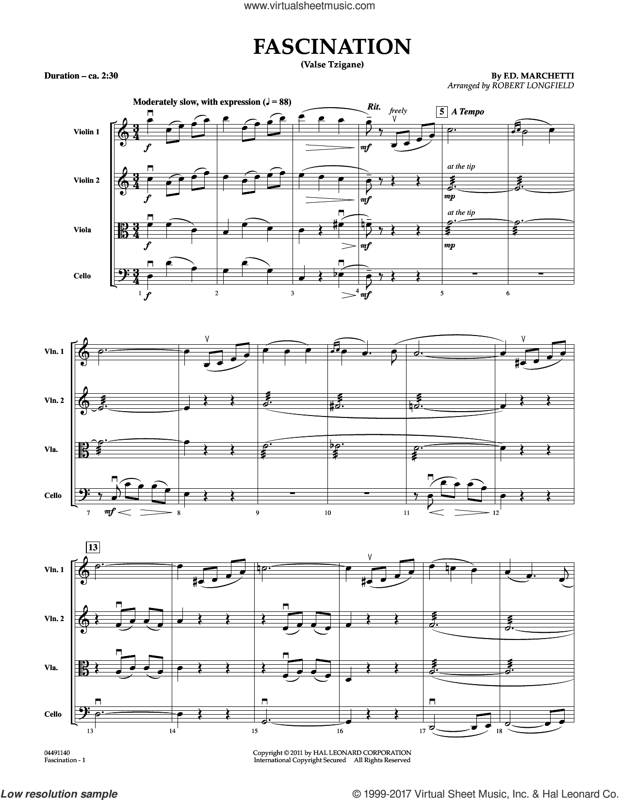 Fascination (Valse Tzigane) (COMPLETE) sheet music for orchestra (Strings) by Robert Longfield and Fermo Dante Marchetti, intermediate. Score Image Preview.