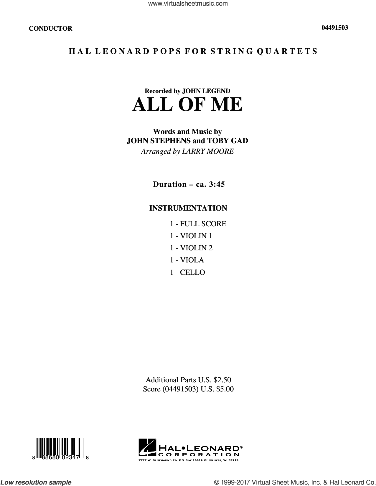 All of Me (COMPLETE) sheet music for orchestra by Larry Moore, John Legend, John Stephens, John Stevens and Toby Gad, wedding score, intermediate skill level