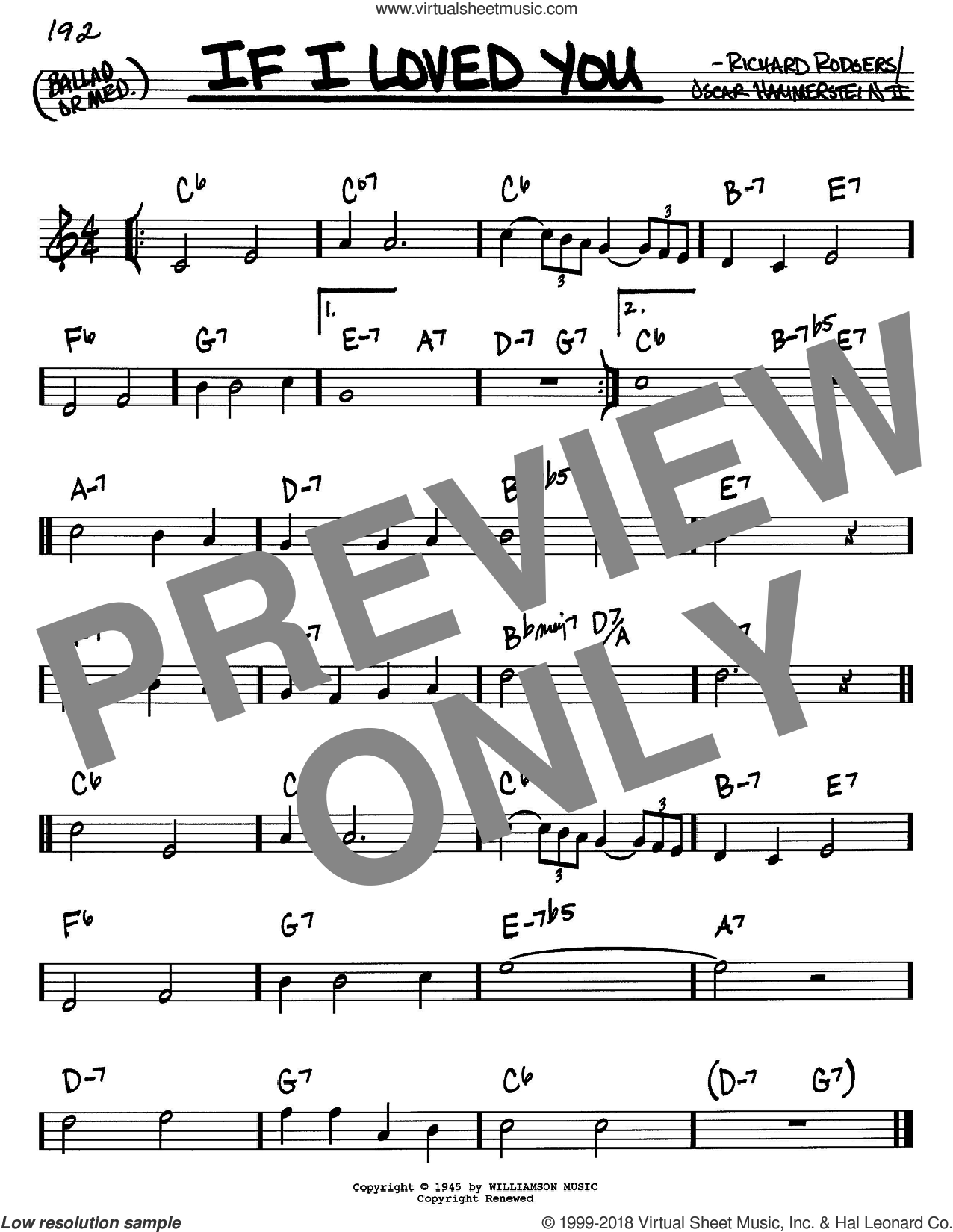 If I Loved You sheet music for voice and other instruments (in C) by Rodgers & Hammerstein, Oscar II Hammerstein and Richard Rodgers, intermediate skill level