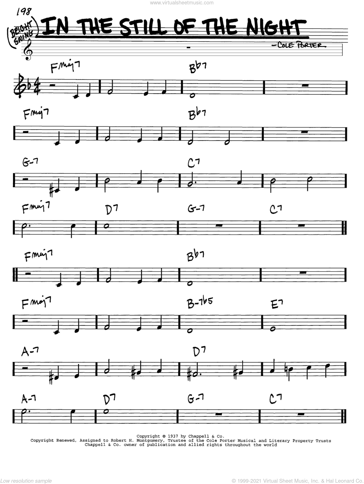 In The Still Of The Night sheet music for voice and other instruments (C) by Cole Porter. Score Image Preview.