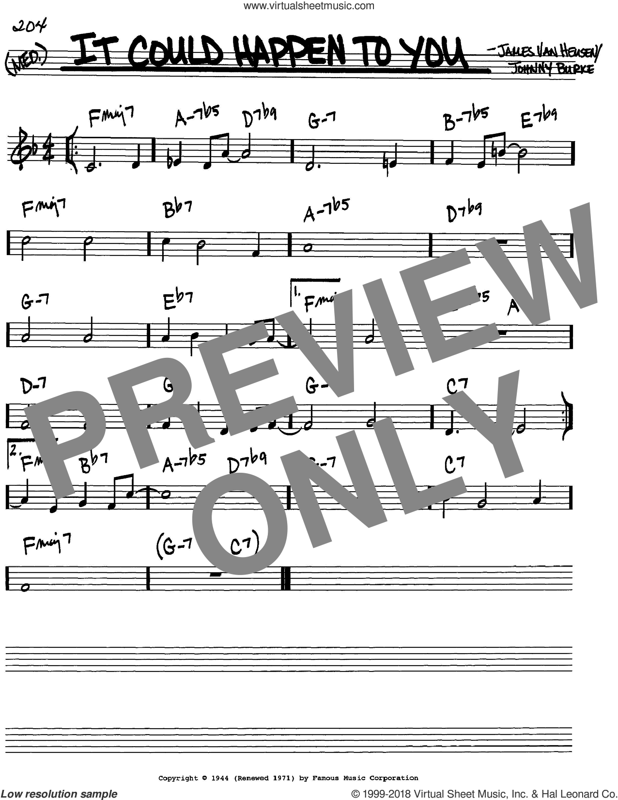 It Could Happen To You sheet music for voice and other instruments (in C) by Frank Sinatra, Jimmy van Heusen and John Burke, intermediate. Score Image Preview.