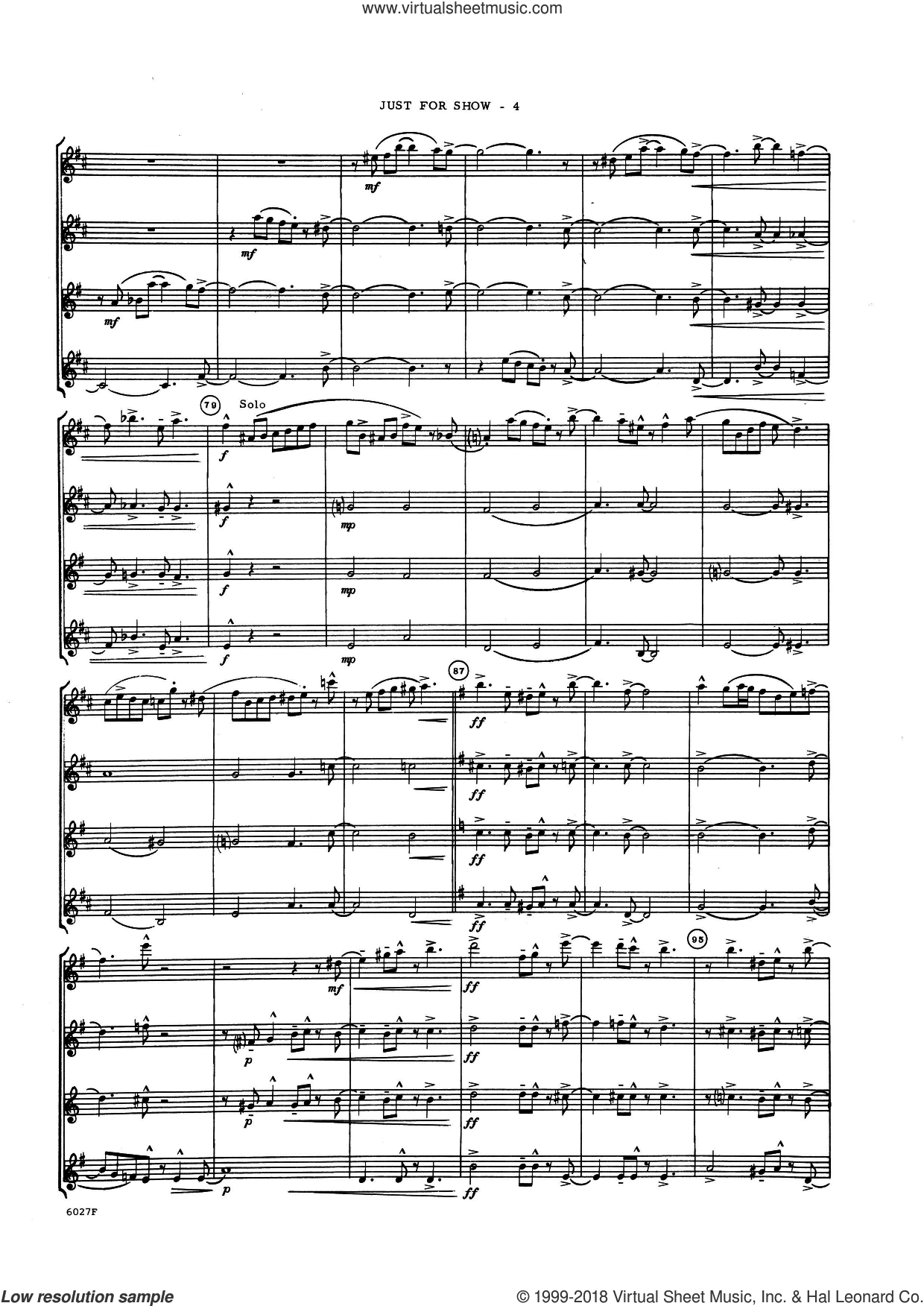 Just For Show (COMPLETE) sheet music for saxophone quartet by Lennie Niehaus, intermediate saxophone quartet. Score Image Preview.