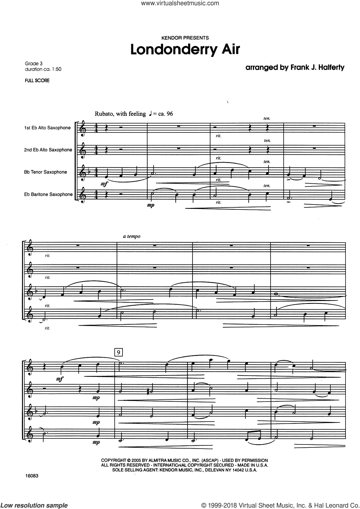 Londonderry Air (COMPLETE) sheet music for saxophone quartet by Frank J. Halferty and Miscellaneous, intermediate. Score Image Preview.