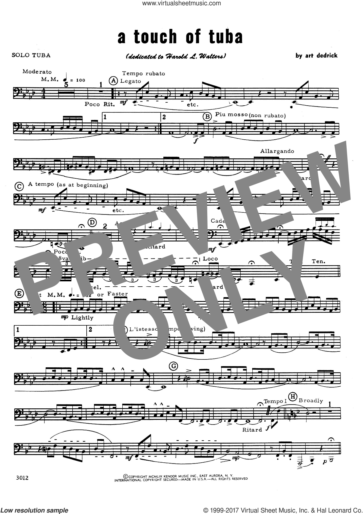 A Touch Of Tuba (complete set of parts) sheet music for tuba and piano by Art Dedrick, intermediate skill level