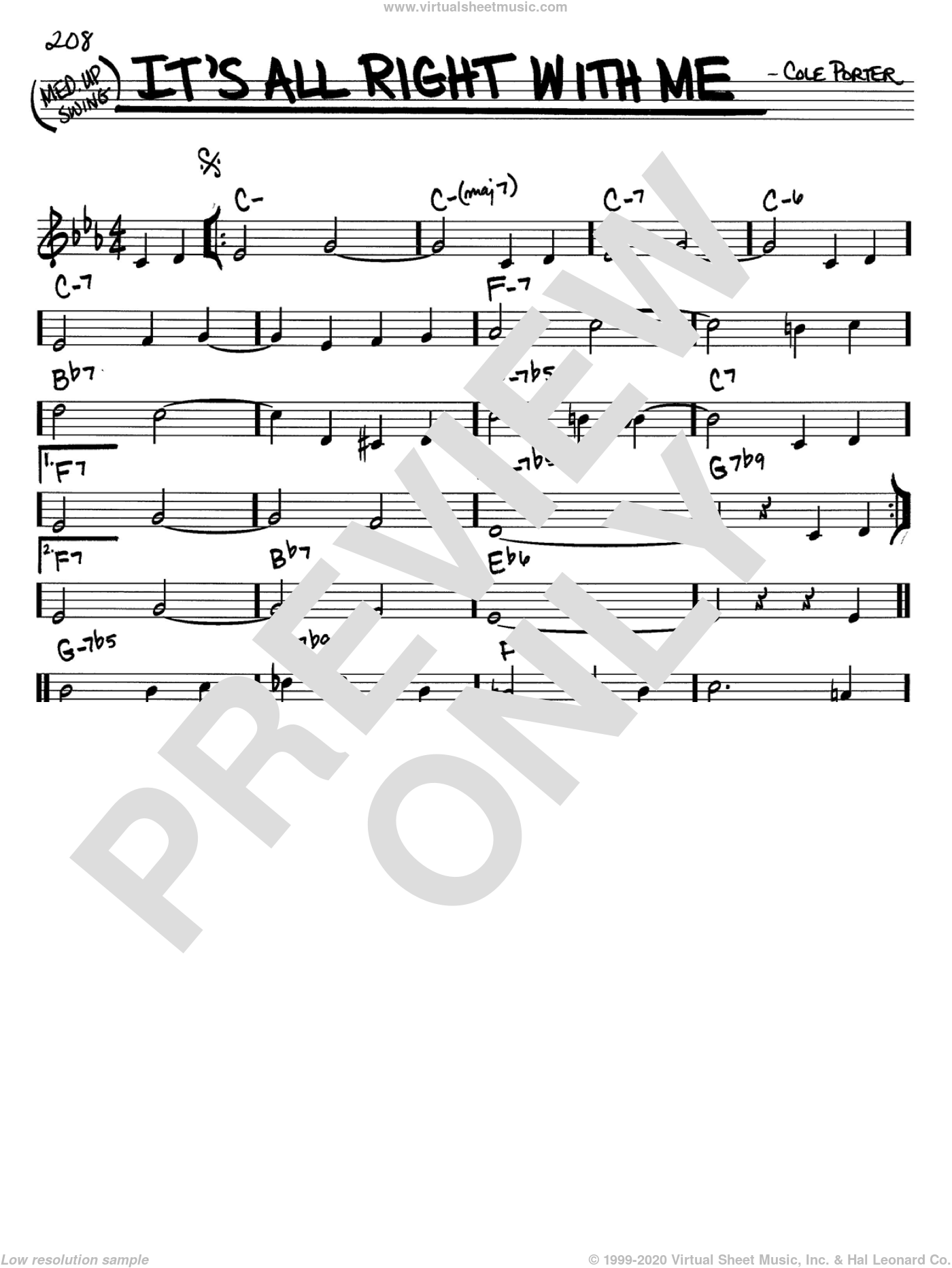 It's All Right With Me sheet music for voice and other instruments (C) by Cole Porter. Score Image Preview.