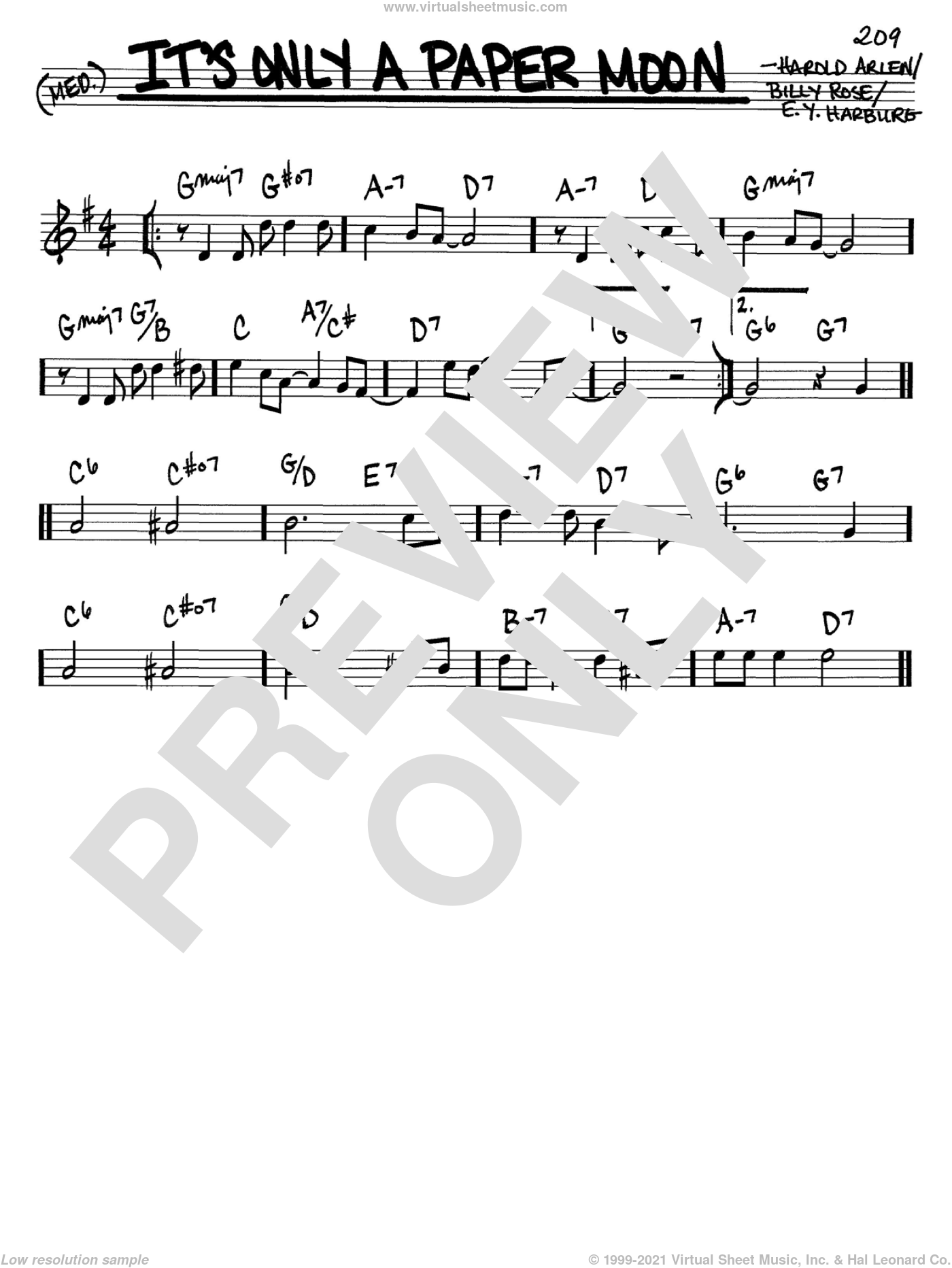 It's Only A Paper Moon sheet music for voice and other instruments (in C) by E.Y. Harburg, Billy Rose and Harold Arlen, intermediate skill level