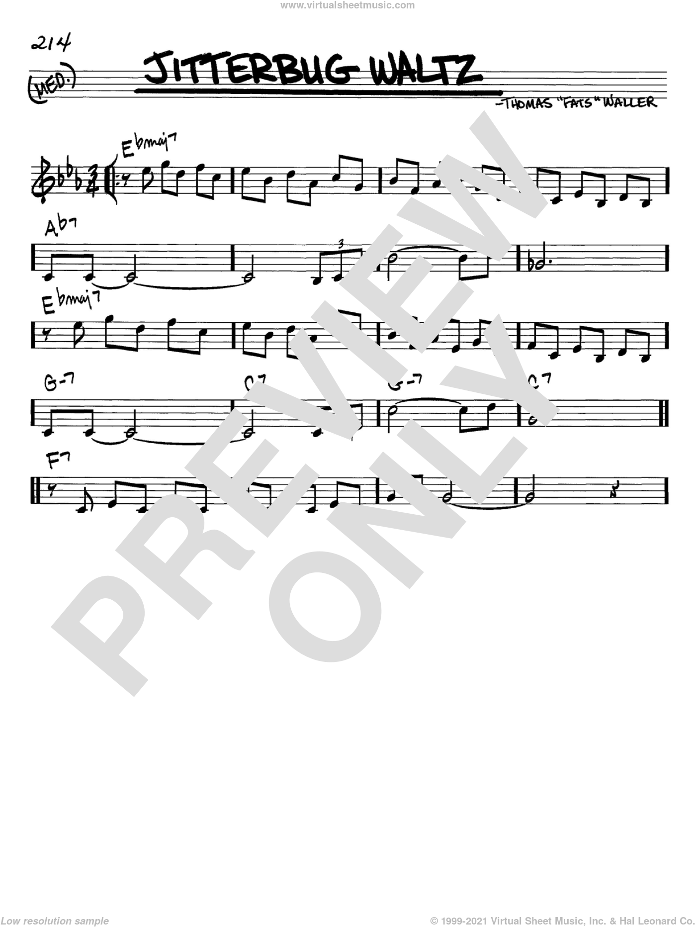 Jitterbug Waltz sheet music for voice and other instruments (in C) by Fats Waller and Thomas Waller, intermediate. Score Image Preview.