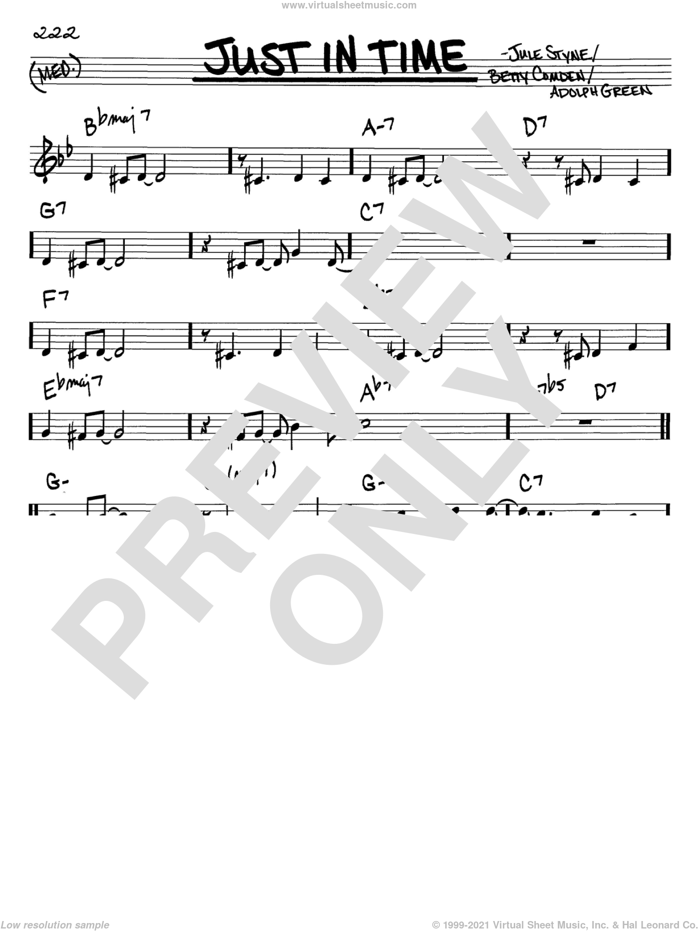 Just In Time sheet music for voice and other instruments (C) by Frank Sinatra, Adolph Green, Betty Comden and Jule Styne, intermediate. Score Image Preview.