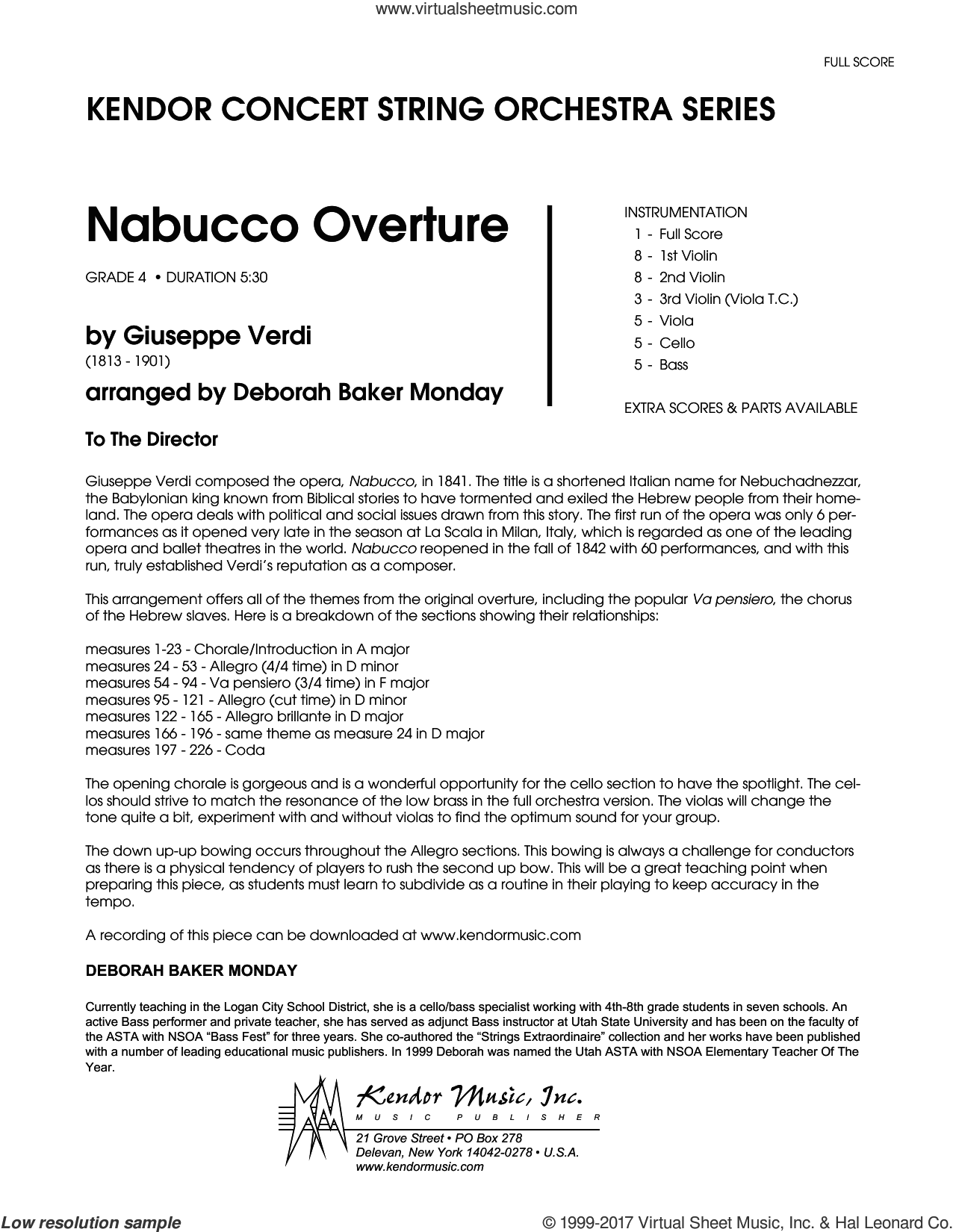 Nabucco Overture (COMPLETE) sheet music for orchestra by Deborah Baker Monday and Giuseppe Verdi, intermediate orchestra. Score Image Preview.