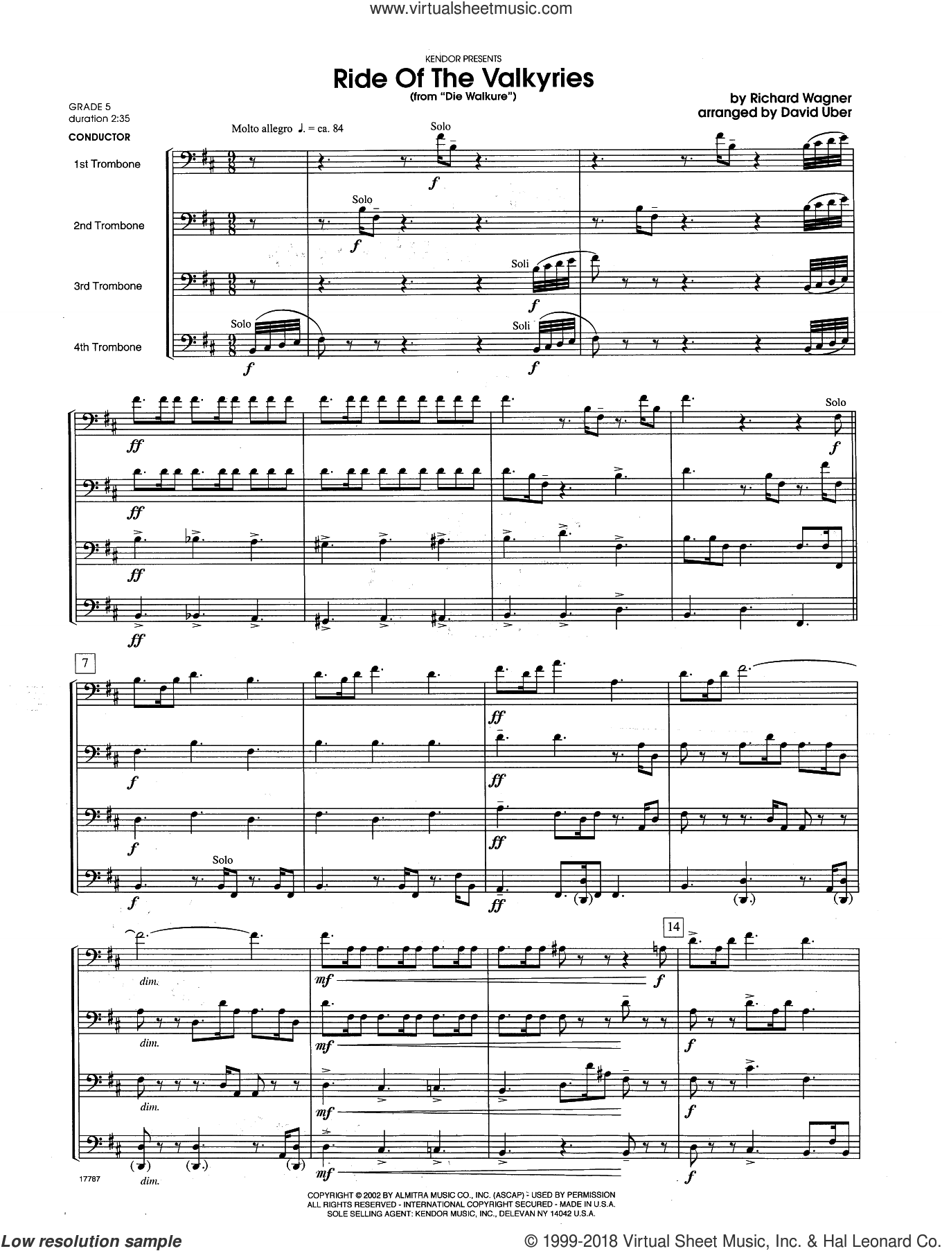 Ride Of The Valkyries From Die Walkure (COMPLETE) sheet music for trombone quartet by David Uber and Richard Wagner, intermediate