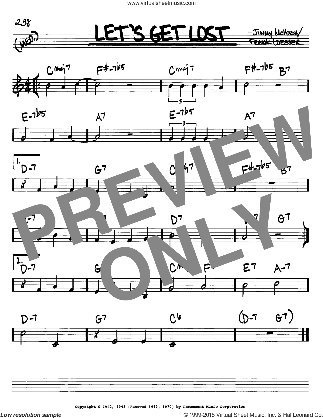 Loesser Lets Get Lost Sheet Music Real Book Melody And Chords