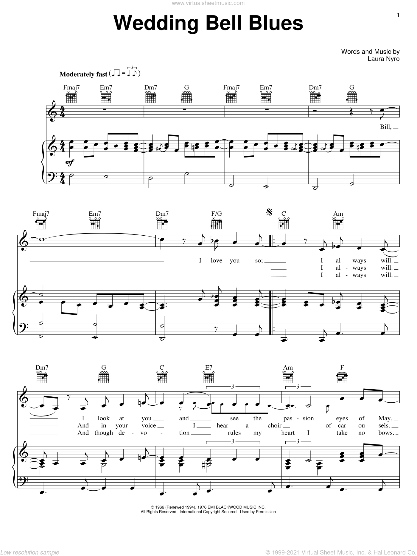 Wedding Bell Blues sheet music for voice, piano or guitar by Laura Nyro and The Fifth Dimension, intermediate skill level