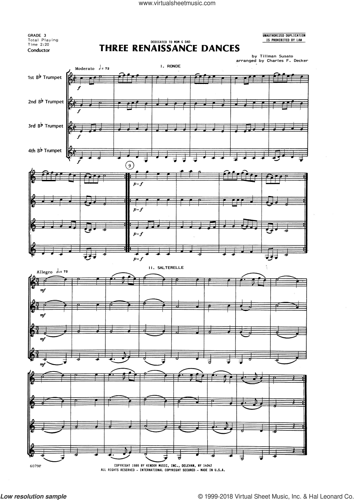 Three Renaissance Dances (From Het Derde Musyk Boexcken (The Third Little Music Book), 1551) (COMPLETE) sheet music for trumpet quartet by Charles Decker, intermediate. Score Image Preview.