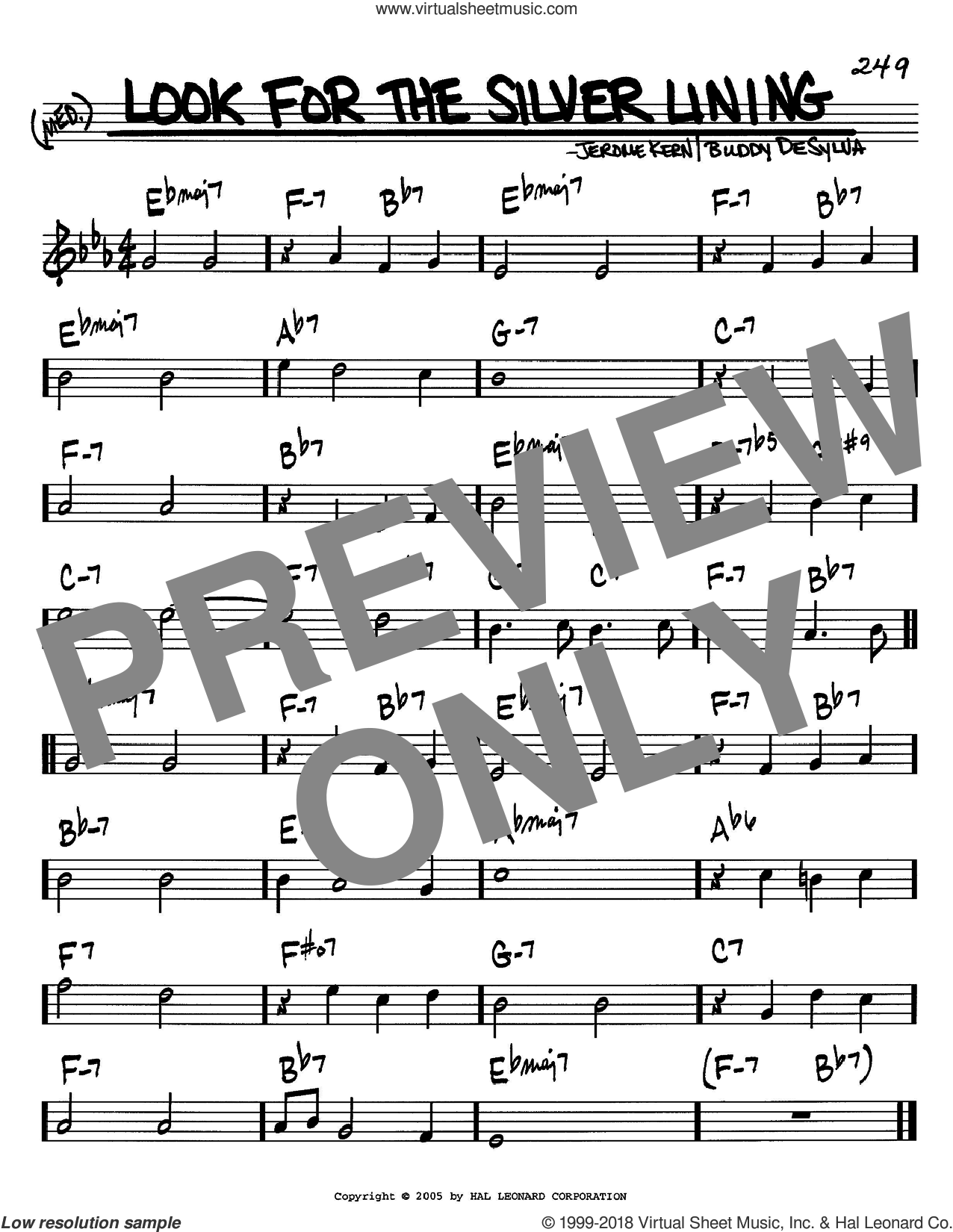 Look For The Silver Lining sheet music for voice and other instruments (C) by Buddy DeSylva and Jerome Kern. Score Image Preview.