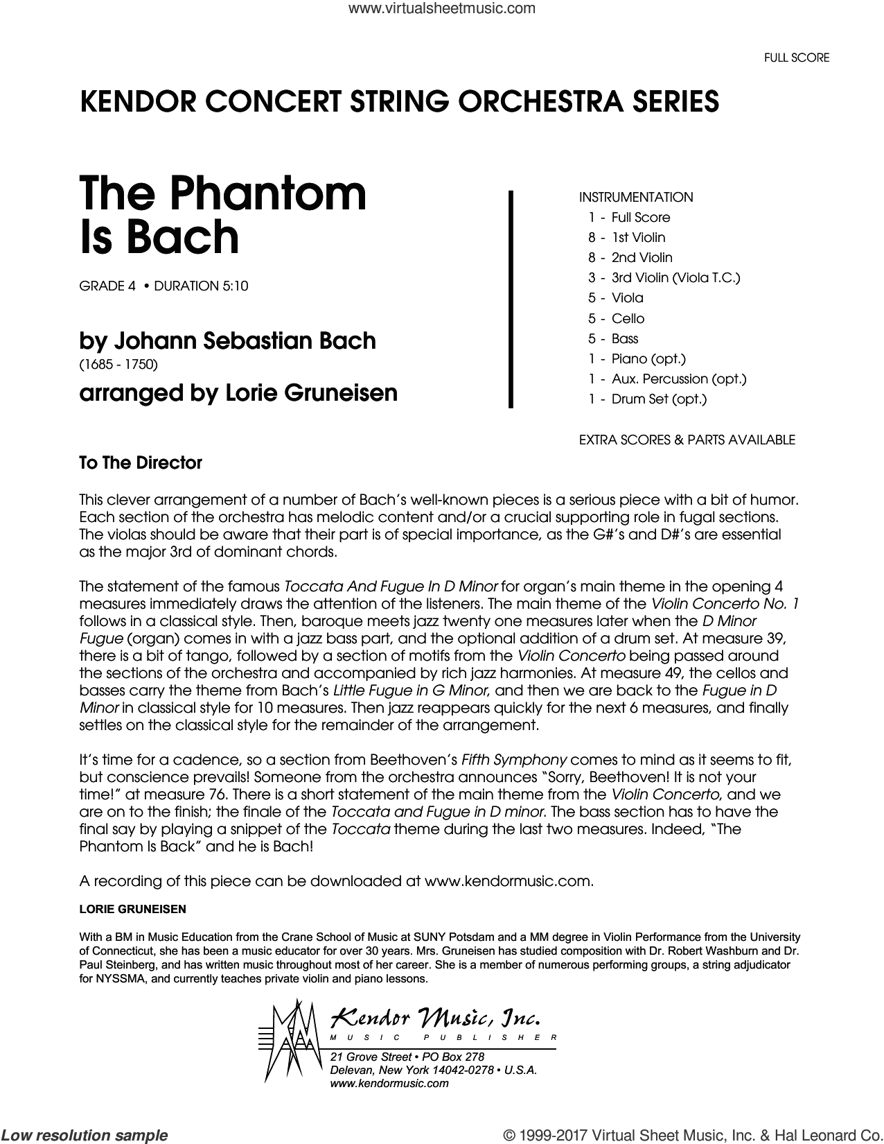 The Phantom Is Bach (COMPLETE) sheet music for orchestra by Lorie Gruneisen and Johann Sebastian Bach, classical score, intermediate