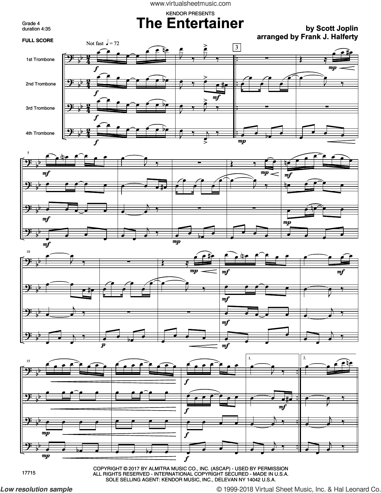 The Entertainer (COMPLETE) sheet music for four trombones by Frank J. Halferty and Scott Joplin, intermediate four trombones. Score Image Preview.