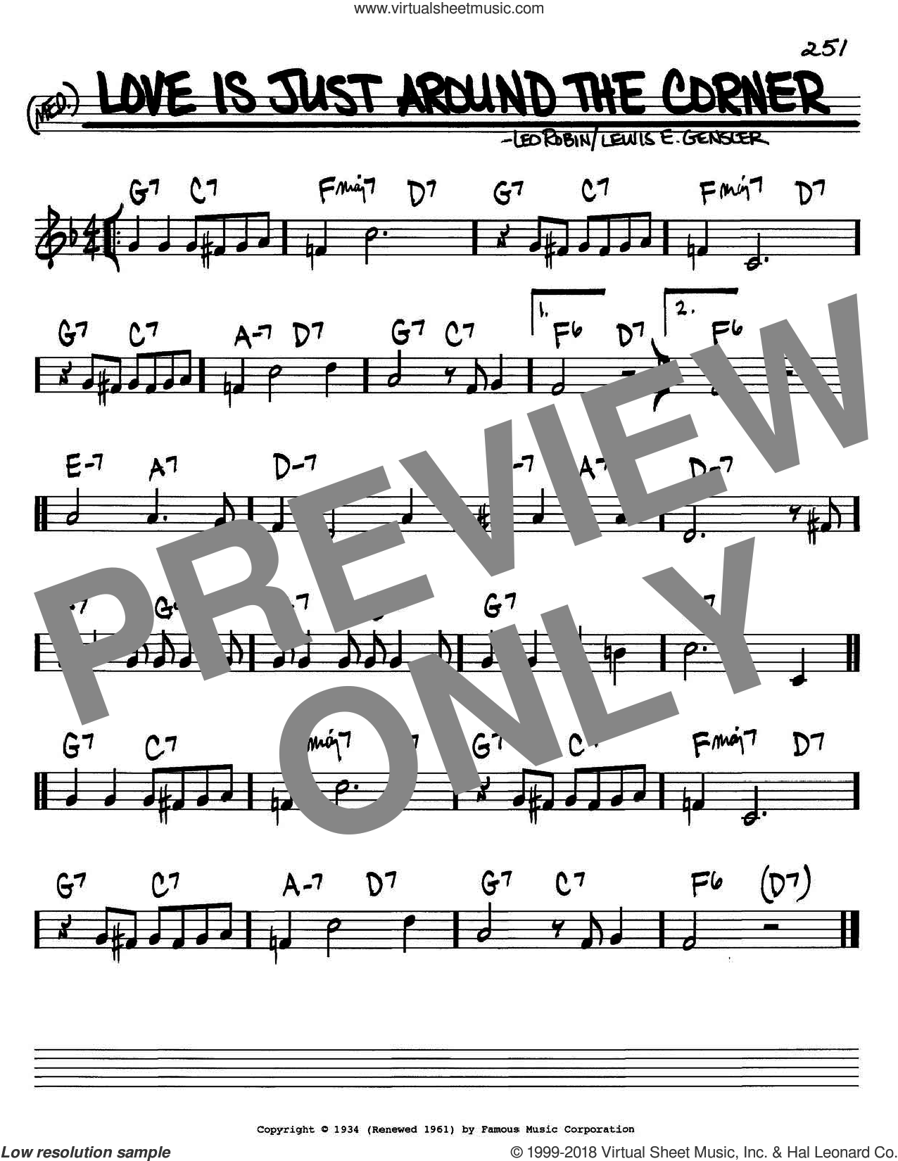Love Is Just Around The Corner sheet music for voice and other instruments (C) by Lewis E. Gensler, Bing Crosby and Leo Robin. Score Image Preview.