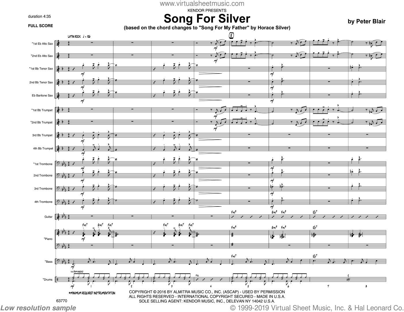 Song For Silver (based on Song For My Father by Horace Silver) sheet music for jazz band (full score) by Peter Blair. Score Image Preview.