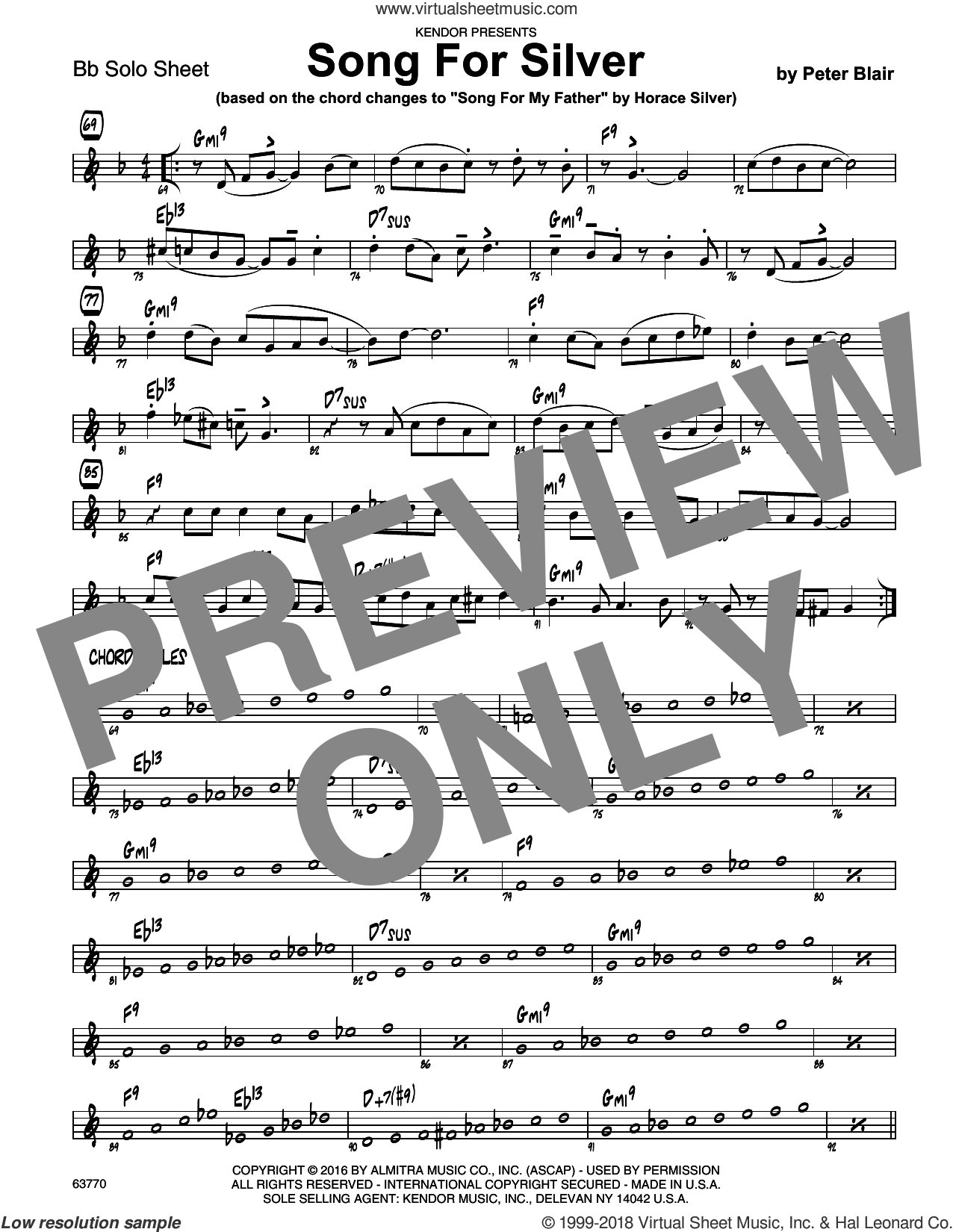 Song For Silver (based on Song For My Father by Horace Silver) sheet music for jazz band (Bb solo sheet) by Peter Blair, intermediate jazz band (Bb sheet)