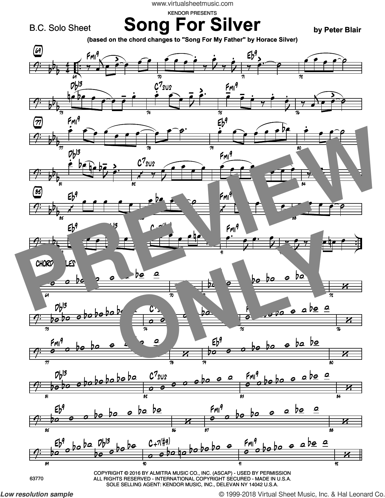 Song For Silver (based on Song For My Father by Horace Silver) sheet music for jazz band (sample solo - bass clef instr.) by Peter Blair, intermediate jazz band (sample - bass clef instr.). Score Image Preview.