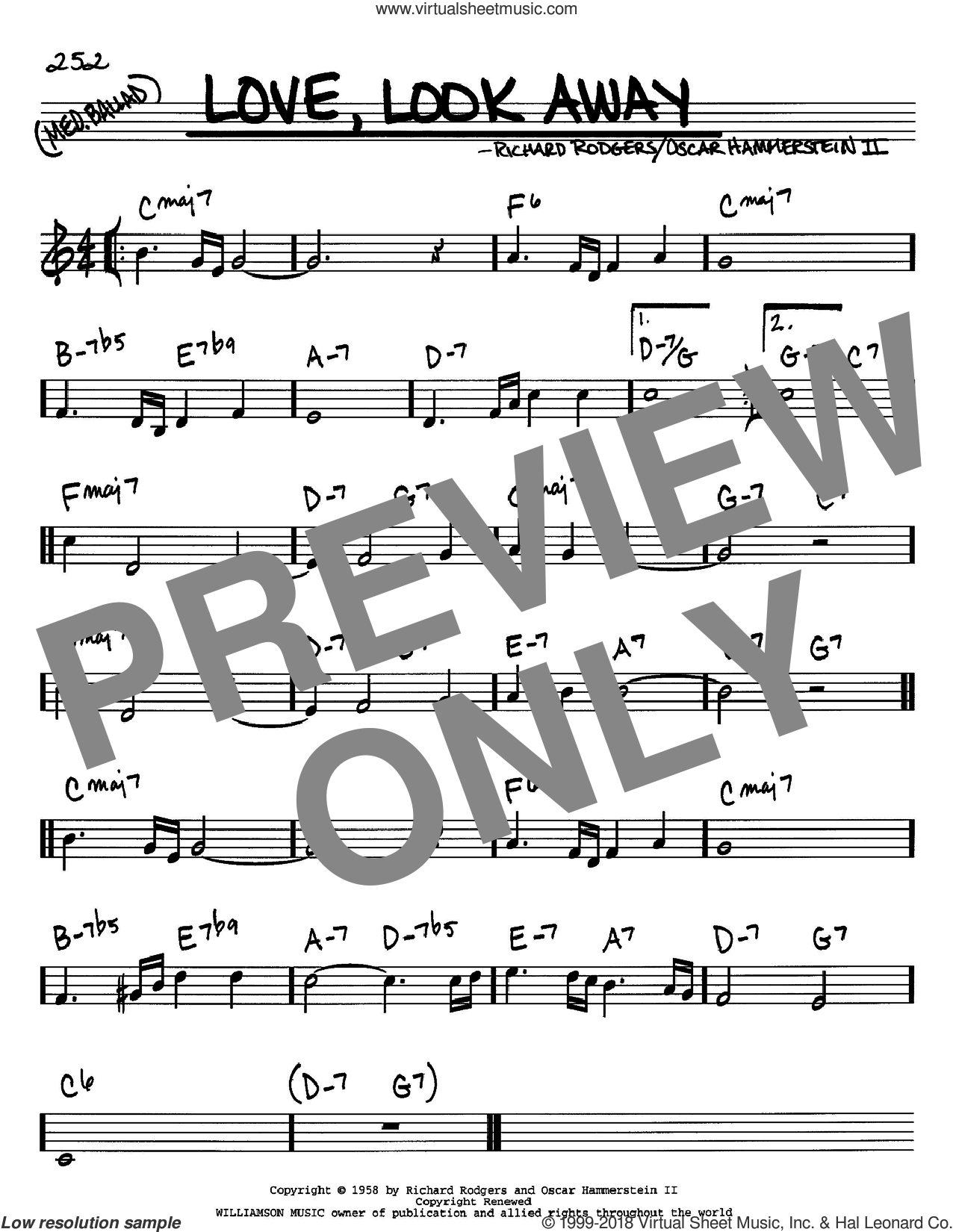 Love, Look Away sheet music for voice and other instruments (C) by Rodgers & Hammerstein, Oscar II Hammerstein and Richard Rodgers, intermediate voice. Score Image Preview.