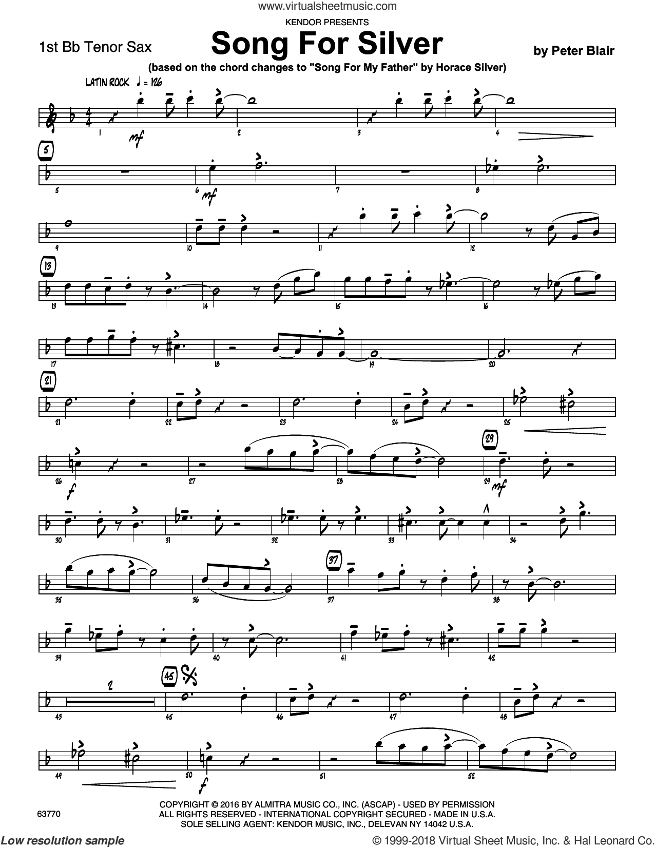Song For Silver (based on Song For My Father by Horace Silver) sheet music for jazz band (1st tenor saxophone) by Peter Blair, intermediate. Score Image Preview.