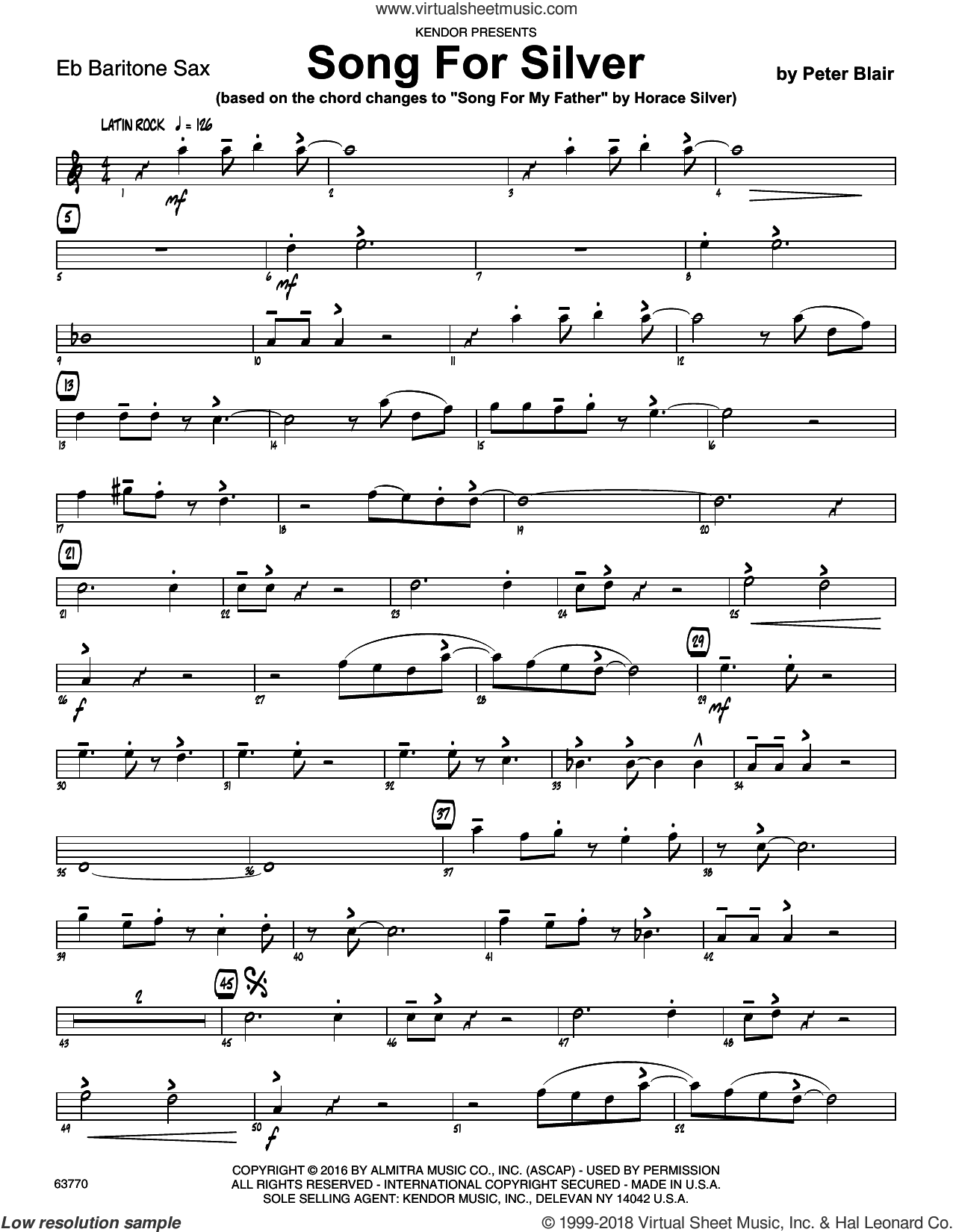 Song For Silver (based on Song For My Father by Horace Silver) sheet music for jazz band (Eb baritone saxophone) by Peter Blair, intermediate skill level