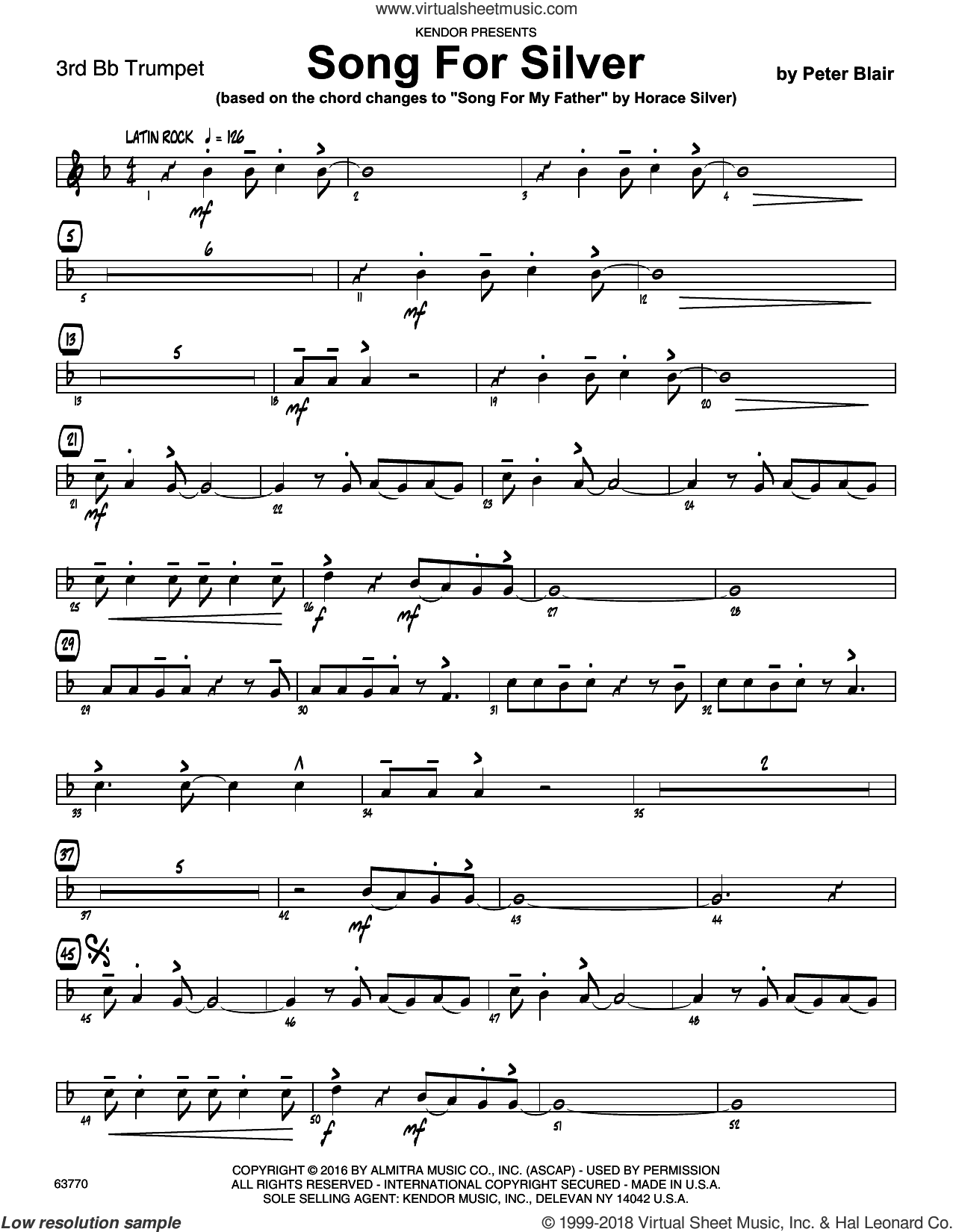 Song For Silver (based on Song For My Father by Horace Silver) sheet music for jazz band (3rd Bb trumpet) by Peter Blair. Score Image Preview.
