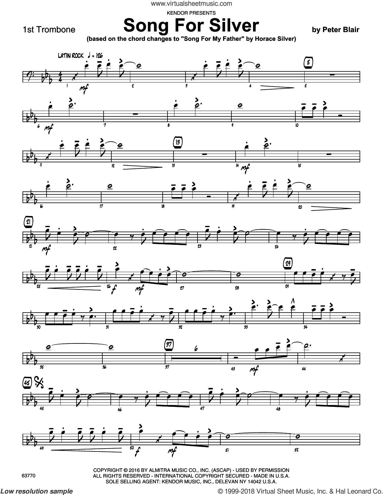 Song For Silver (based on Song For My Father by Horace Silver) sheet music for jazz band (1st trombone) by Peter Blair. Score Image Preview.