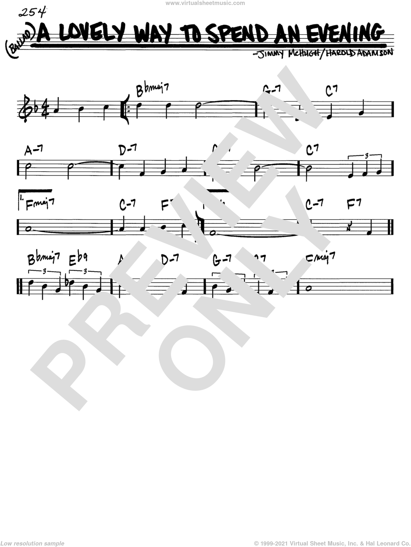 A Lovely Way To Spend An Evening sheet music for voice and other instruments (in C) by Frank Sinatra, Harold Adamson and Jimmy McHugh, intermediate skill level