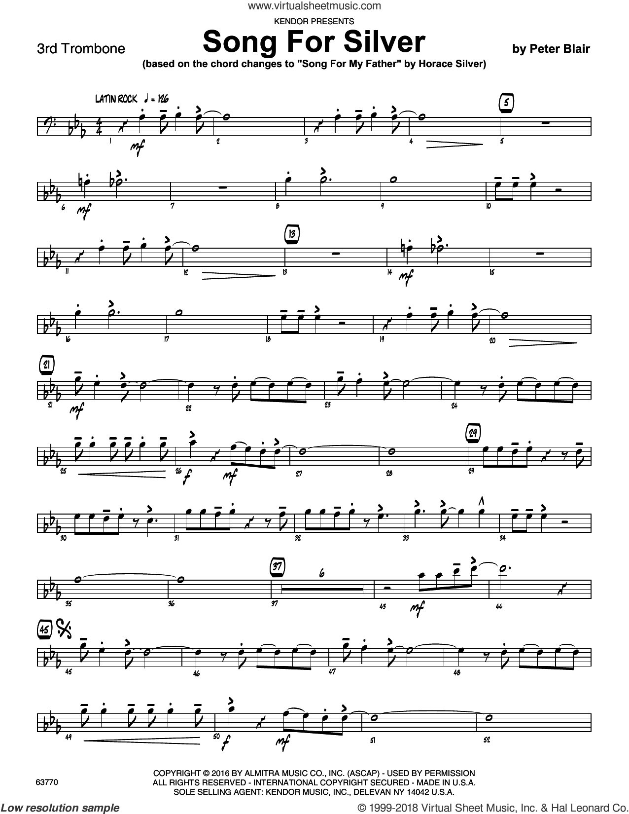 Song For Silver (based on Song For My Father by Horace Silver) sheet music for jazz band (3rd trombone) by Peter Blair, intermediate skill level