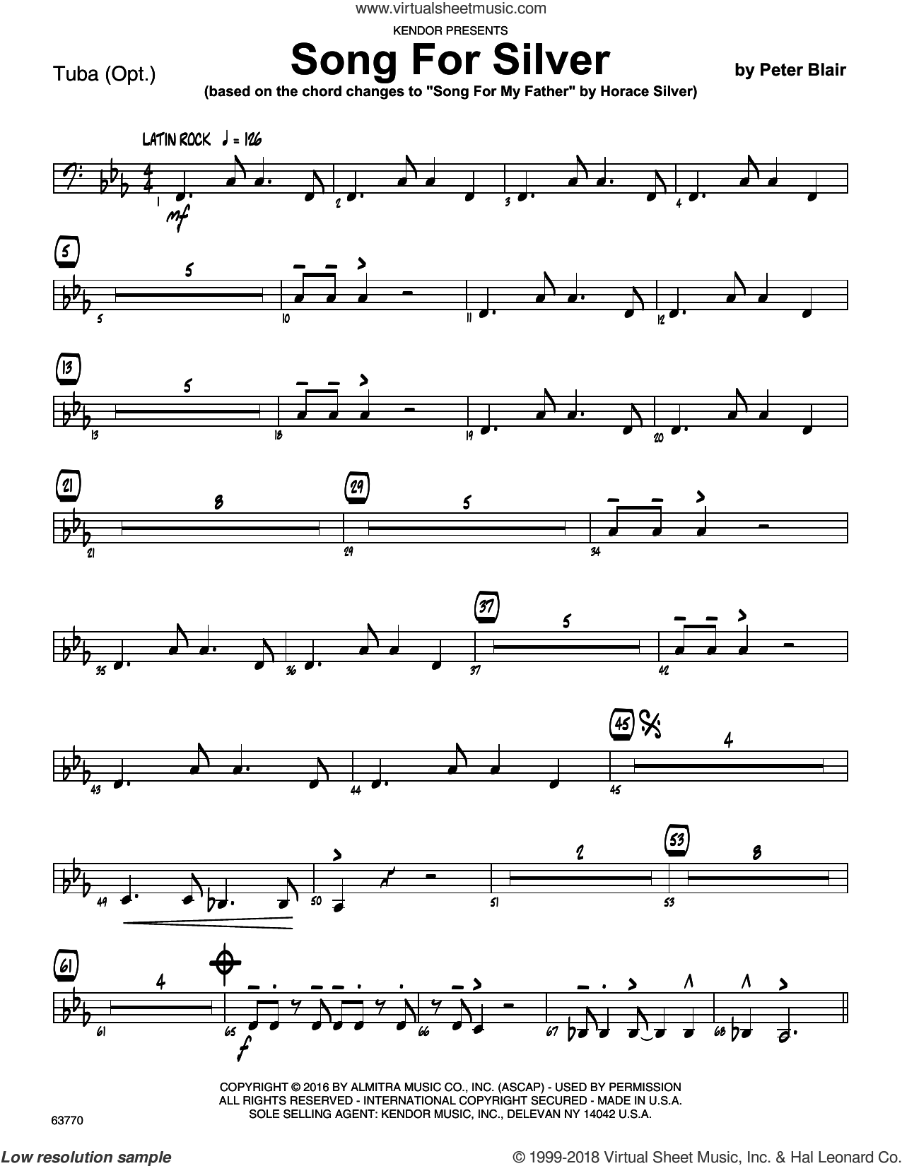 Song For Silver (based on Song For My Father by Horace Silver) sheet music for jazz band (tuba) by Peter Blair. Score Image Preview.