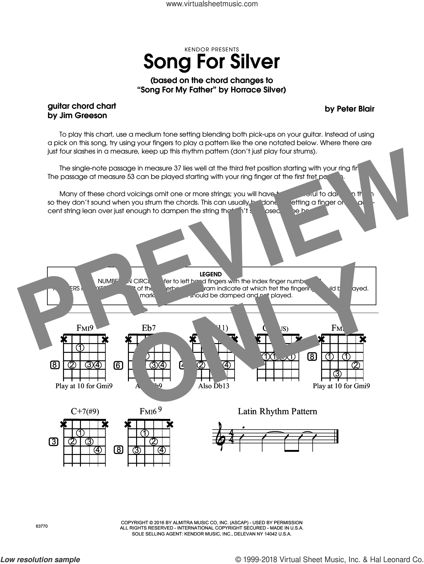 Song For Silver (based on Song For My Father by Horace Silver) sheet music for jazz band (guitar chord chart) by Peter Blair, intermediate jazz band (guitar chord chart). Score Image Preview.