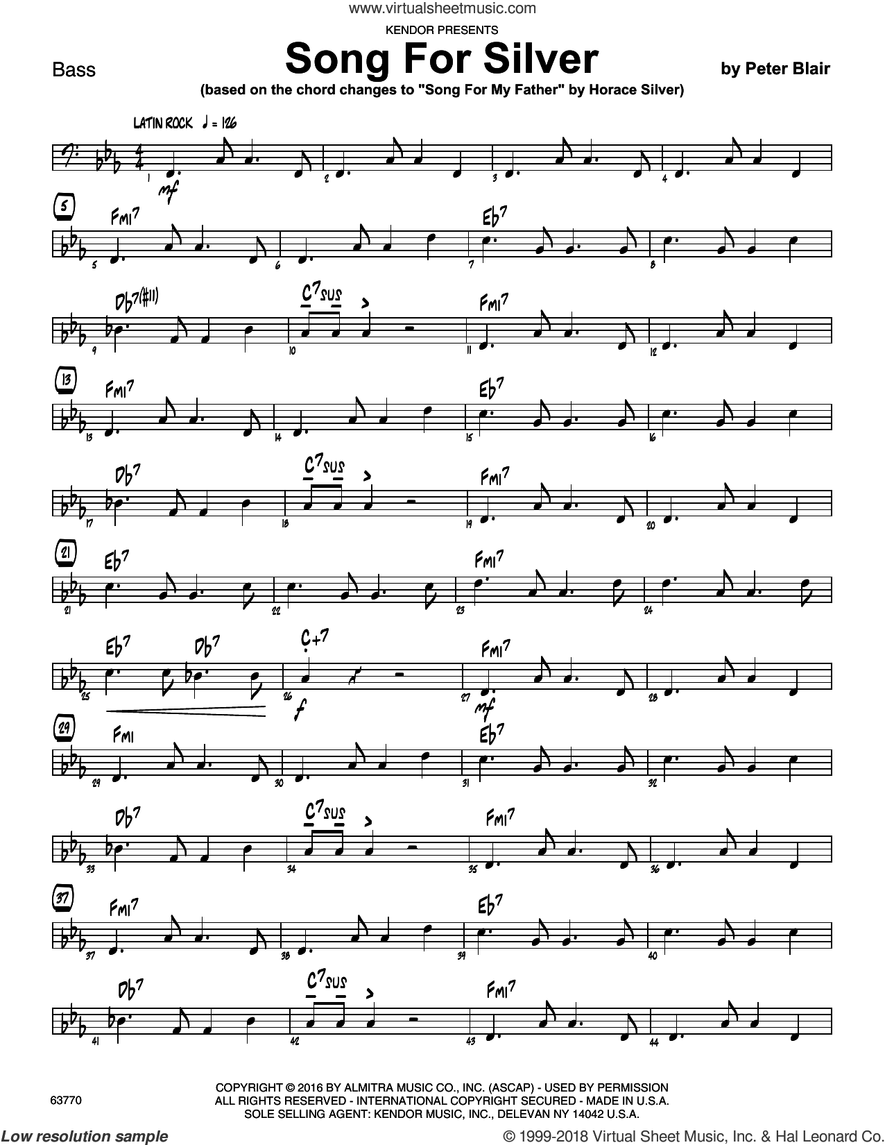 Song For Silver (based on Song For My Father by Horace Silver) sheet music for jazz band (bass) by Peter Blair, intermediate jazz band (bass). Score Image Preview.