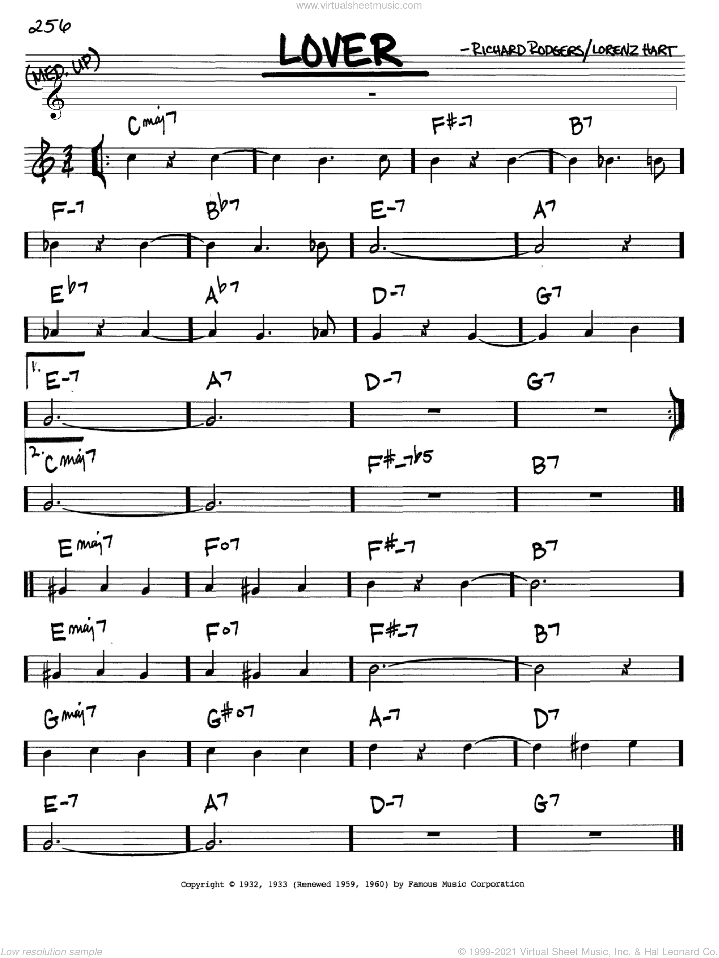 Lover sheet music for voice and other instruments (C) by Richard Rodgers