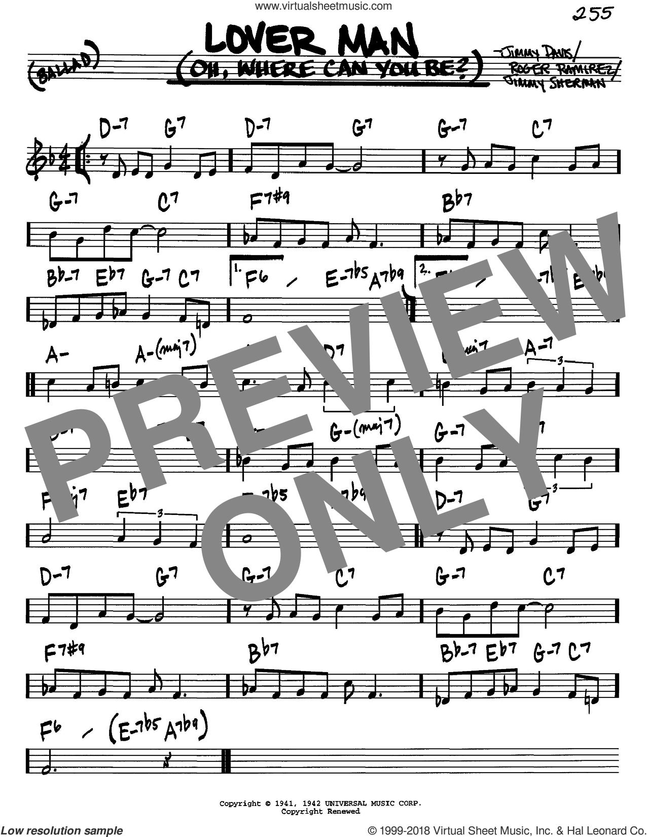 Lover Man (Oh, Where Can You Be?) sheet music for voice and other instruments (C) by Billie Holiday and Jimmie Davis. Score Image Preview.