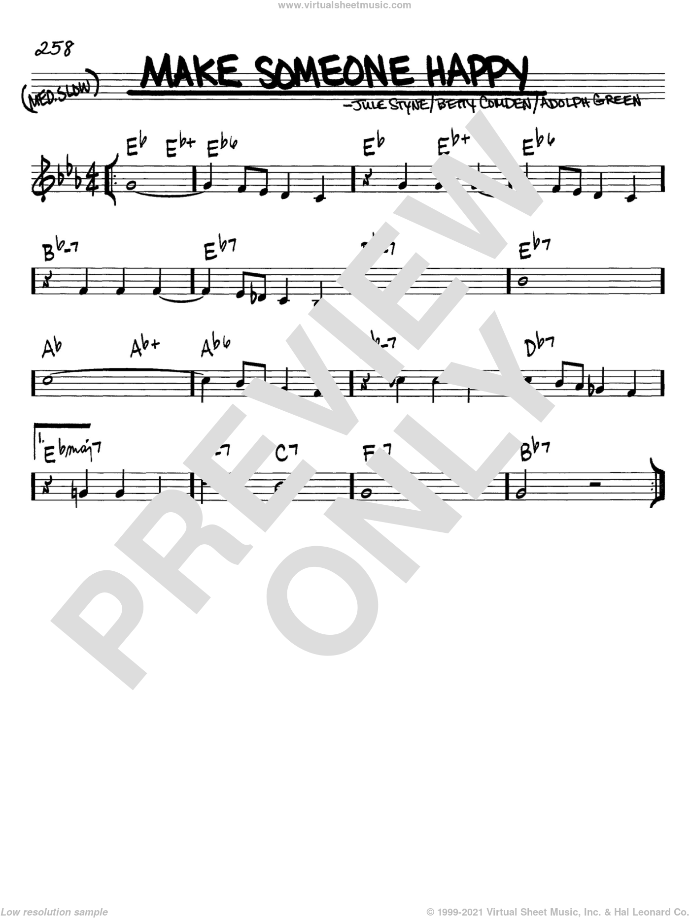 Make Someone Happy sheet music for voice and other instruments (in C) by Jule Styne, Adolph Green and Betty Comden, intermediate. Score Image Preview.