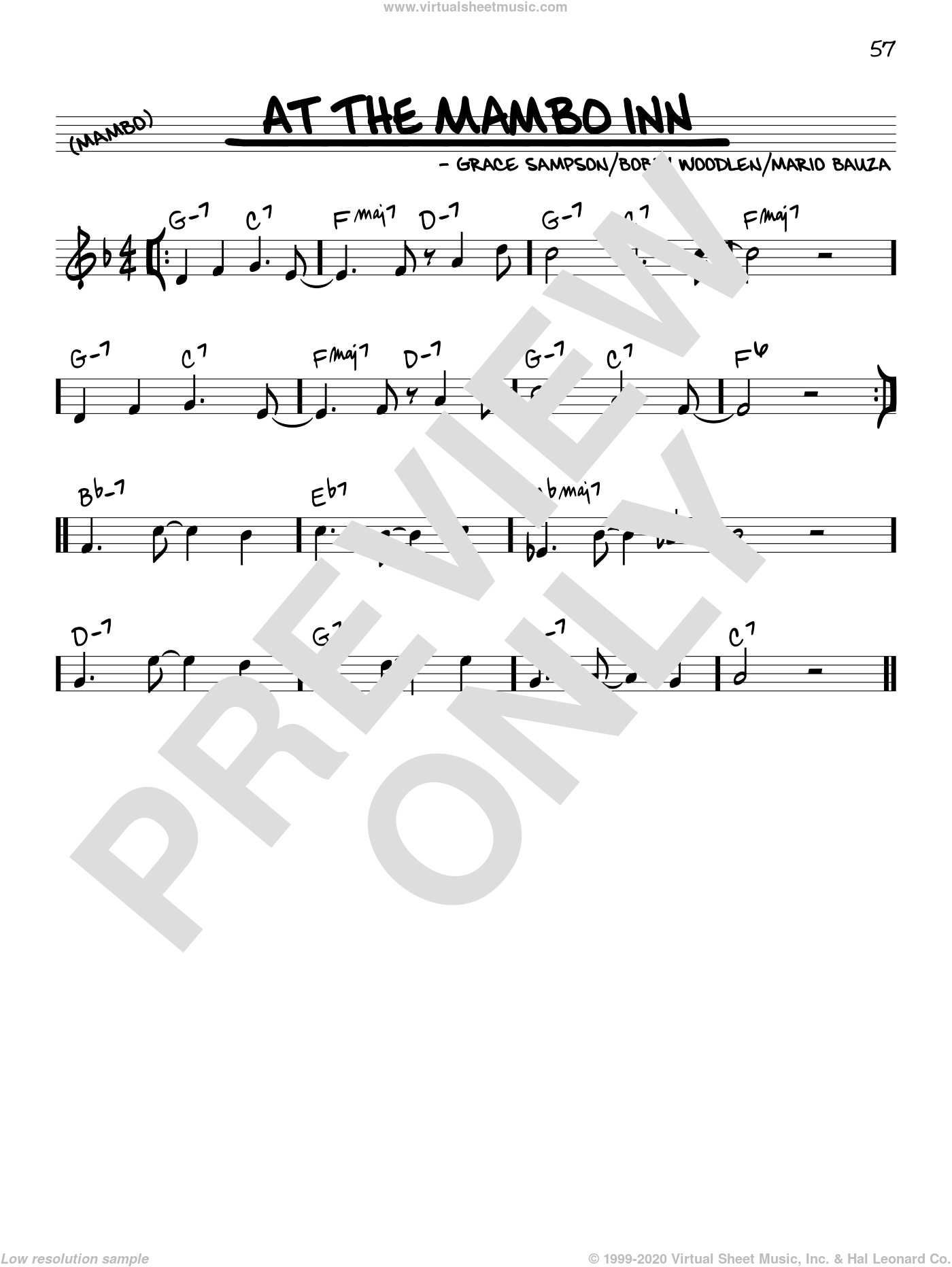 At The Mambo Inn sheet music for voice and other instruments (C) by Grace Sampson. Score Image Preview.