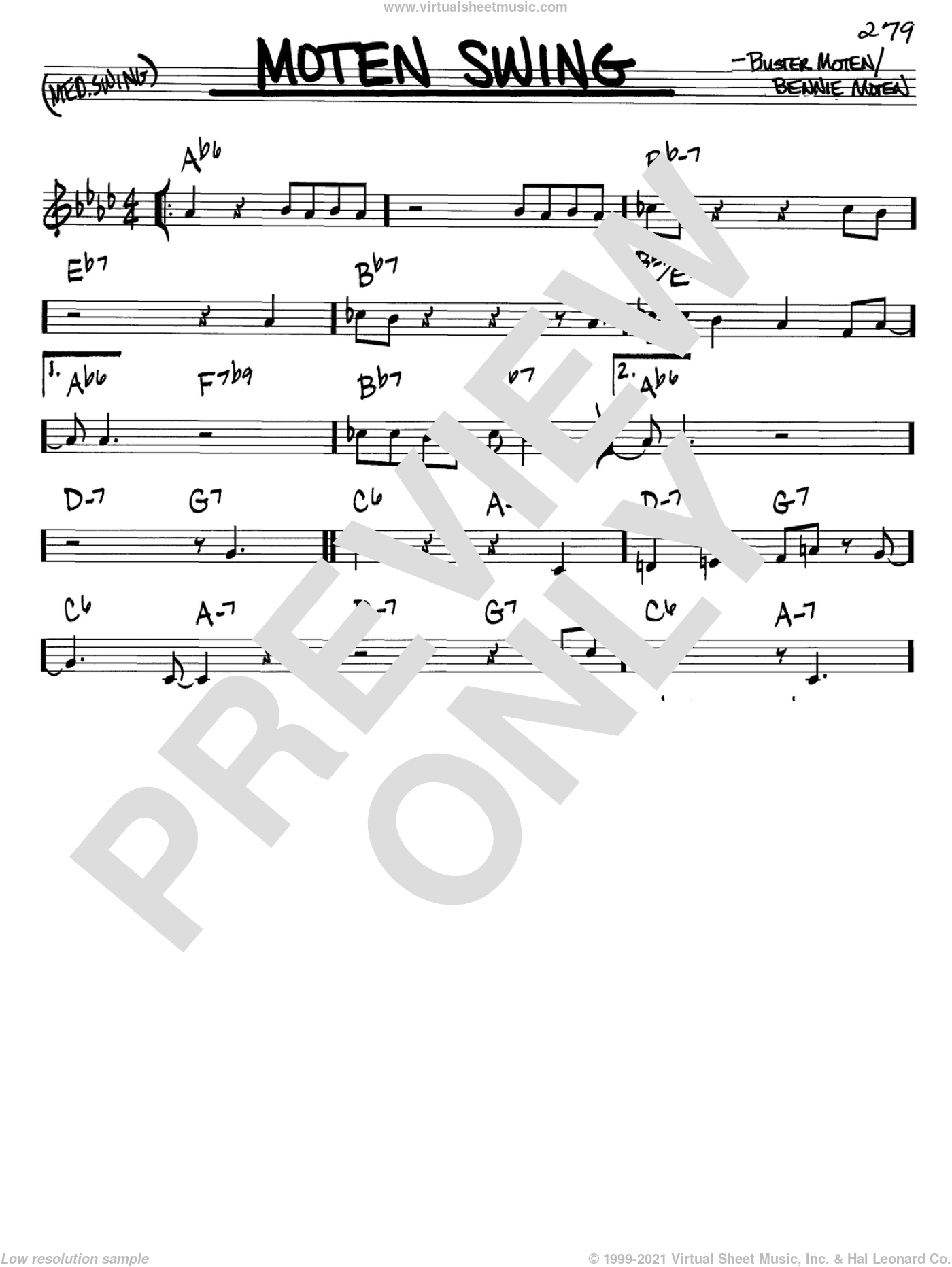Moten Swing sheet music for voice and other instruments (C) by Buster Moten
