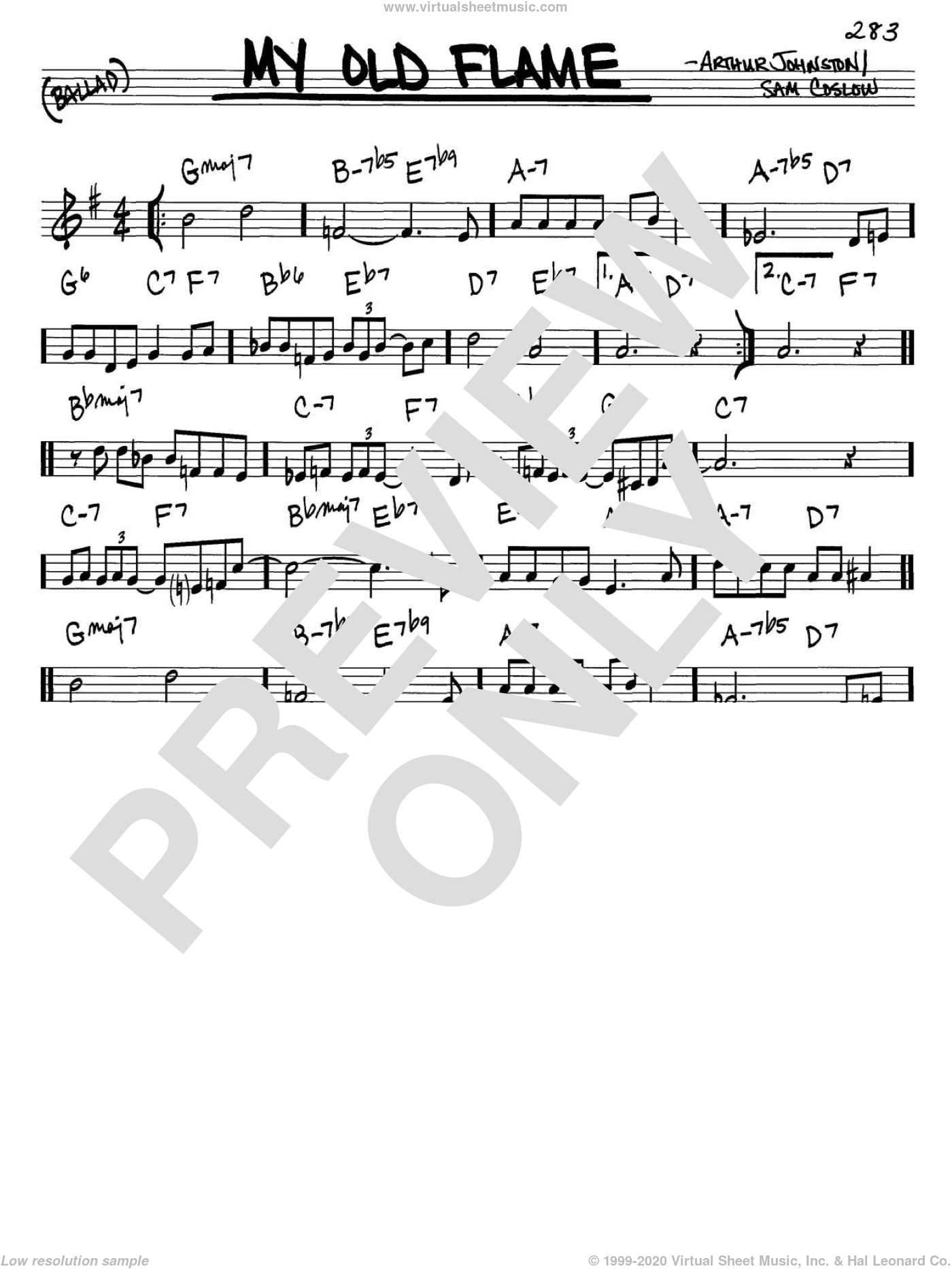 My Old Flame sheet music for voice and other instruments (in C) by Peggy Lee, Arthur Johnston and Sam Coslow, intermediate. Score Image Preview.