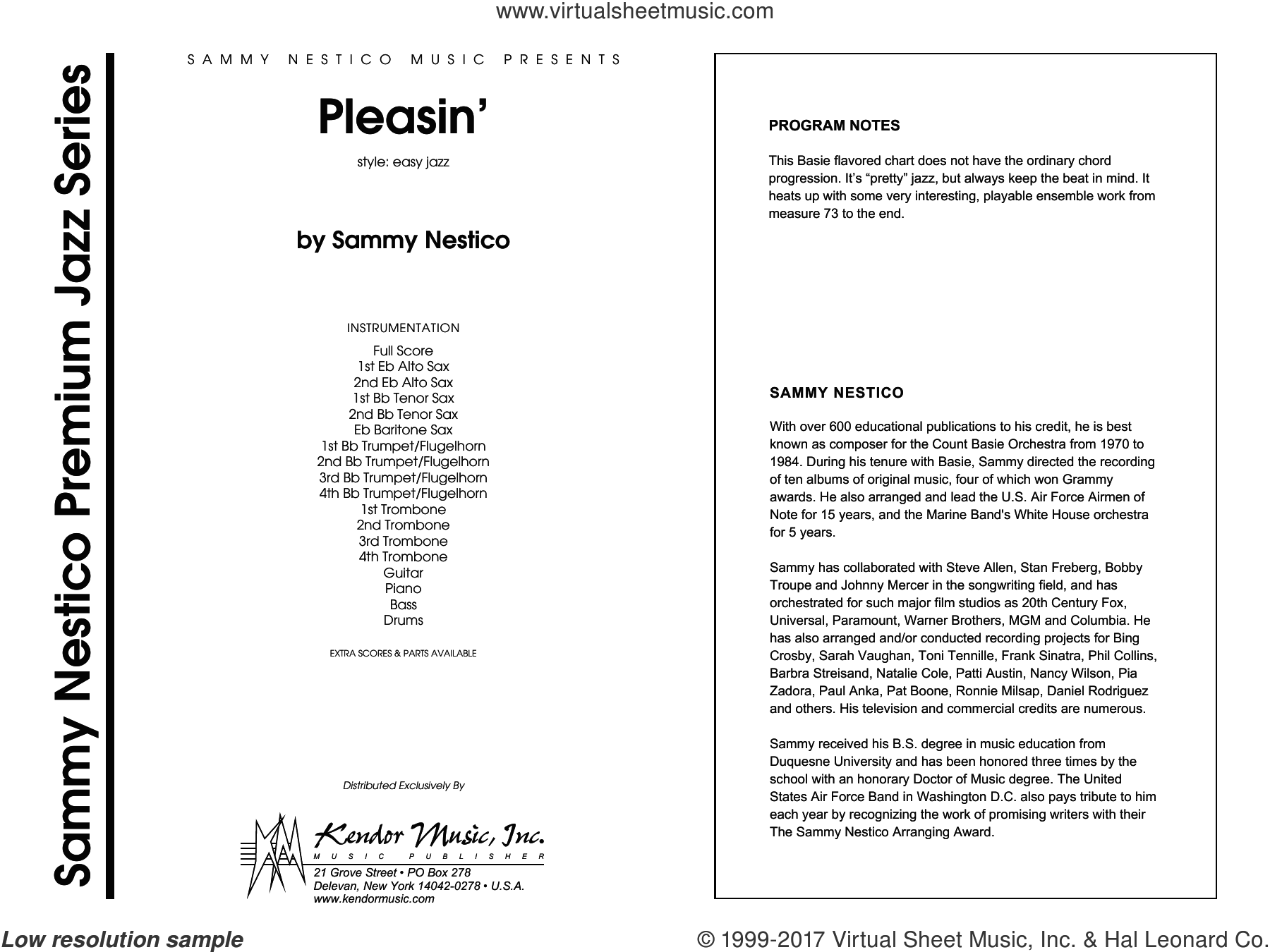 Pleasin' (COMPLETE) sheet music for jazz band by Sammy Nestico, intermediate