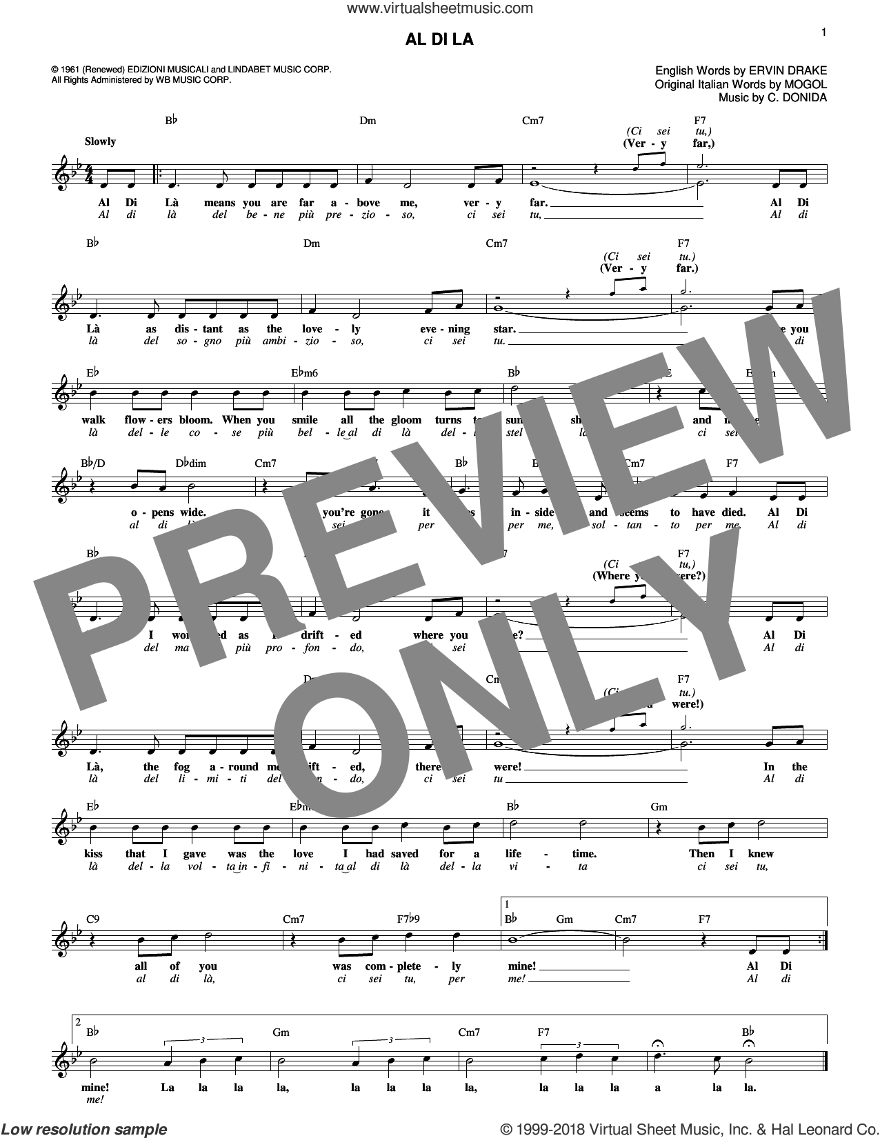 Al Di La sheet music for voice and other instruments (fake book) by Ervin Drake, Connie Francis, Emilio Pericoli, Ray Charles Singers, C. Donida and Mogol, intermediate skill level