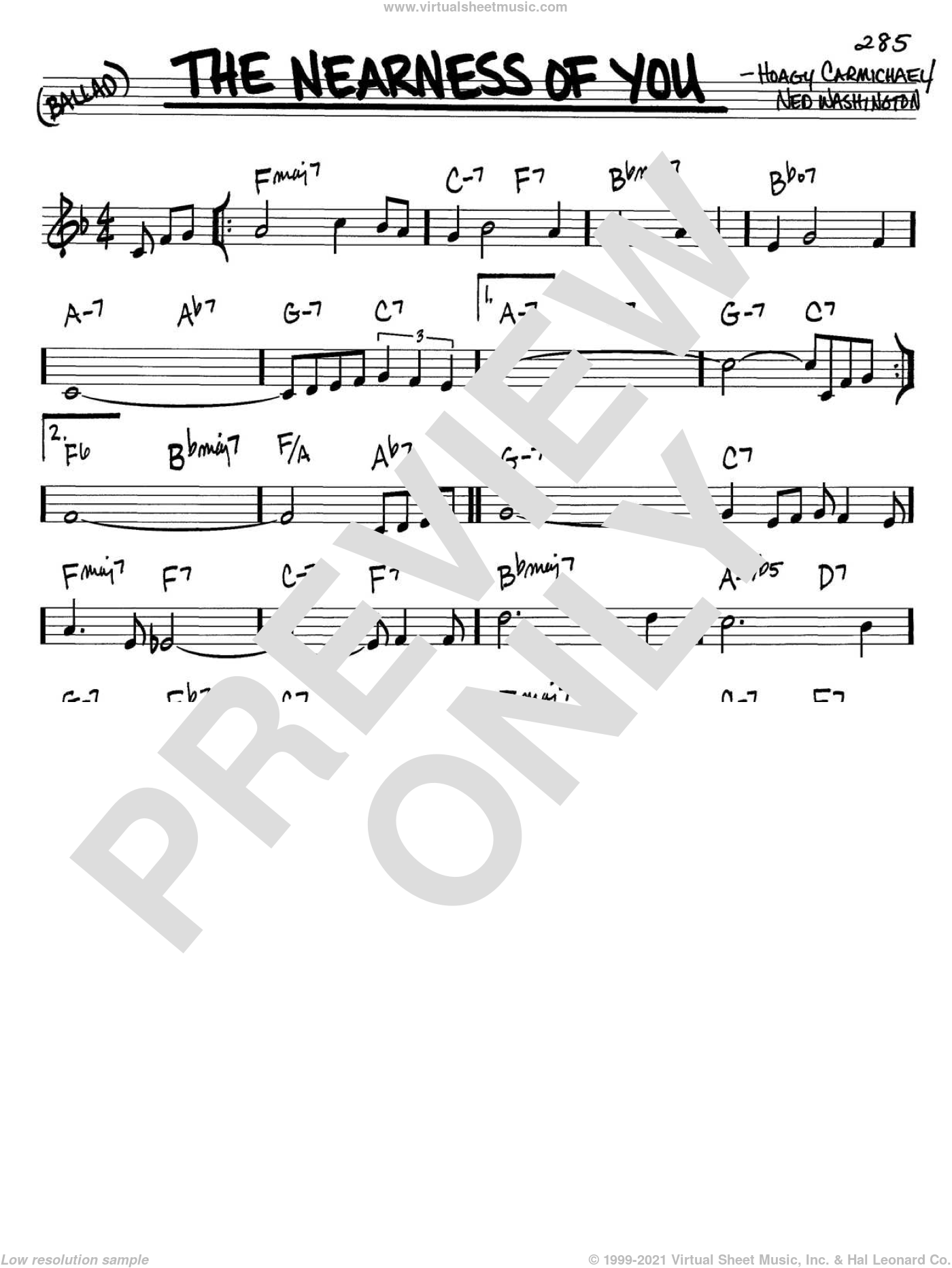 The Nearness Of You sheet music for voice and other instruments (C) by Hoagy Carmichael and Ned Washington, intermediate voice. Score Image Preview.