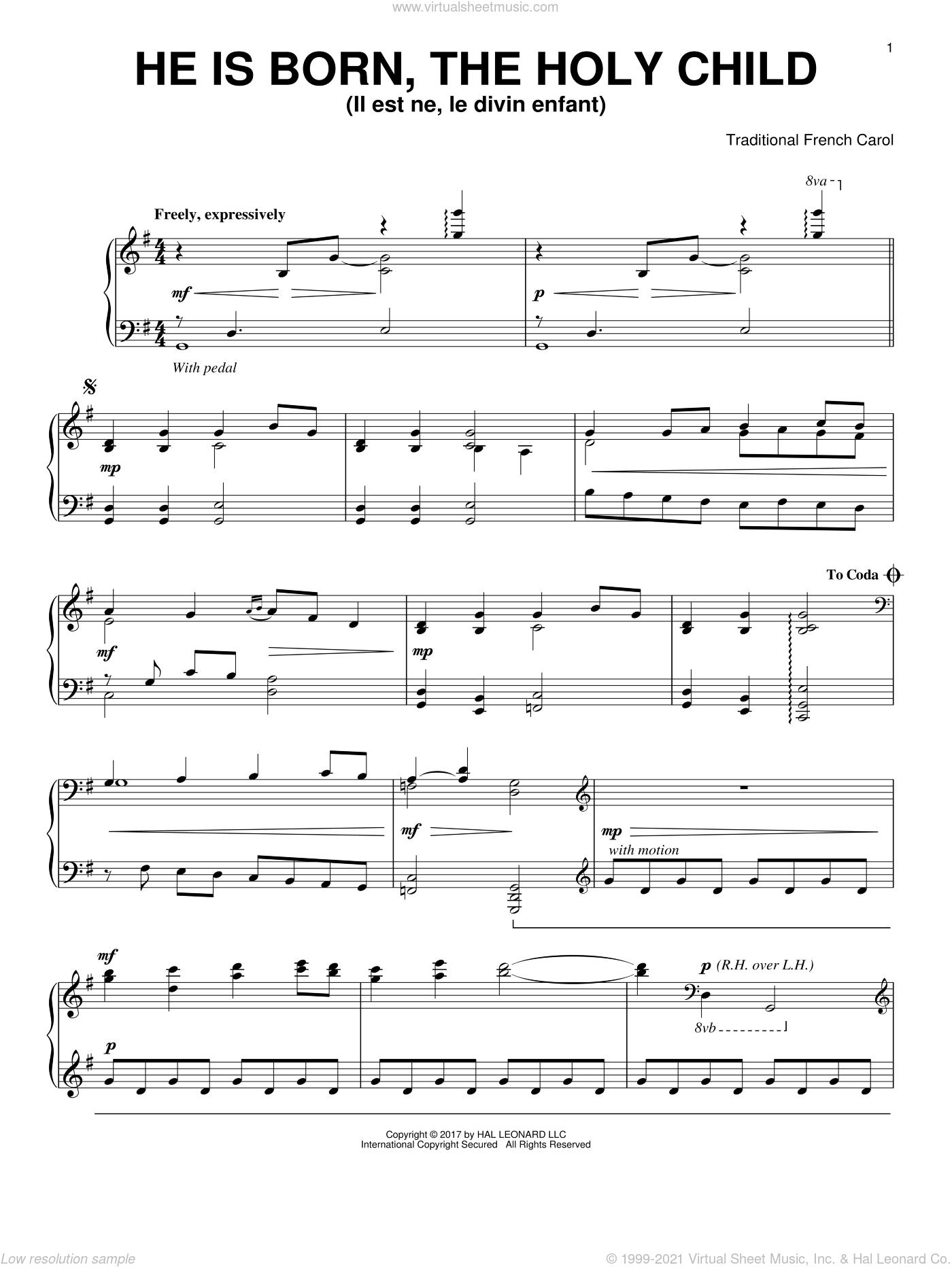 He Is Born, The Holy Child (Il Est Ne, Le Divin Enfant) sheet music for piano solo, intermediate skill level