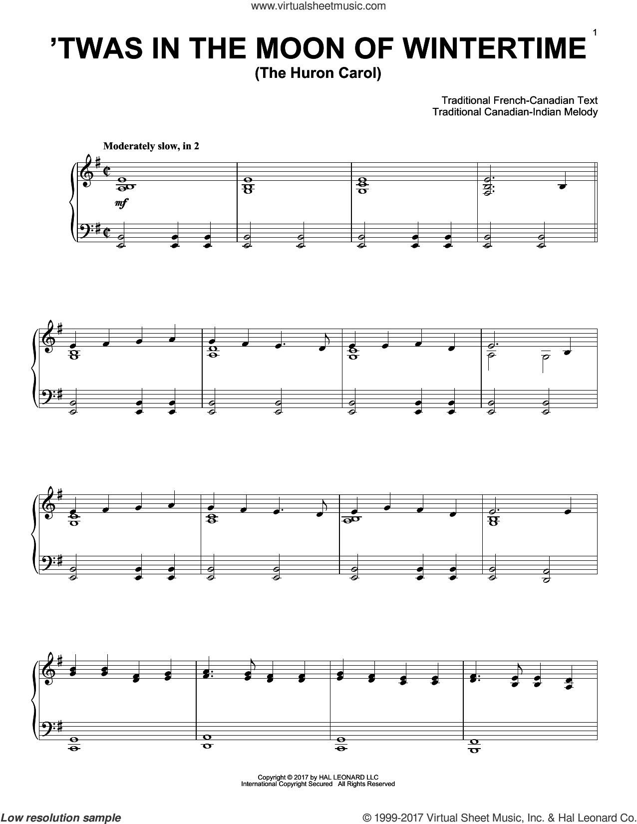 The Huron Carol ('Twas In The Moon Of Wintertime) sheet music for piano solo by Trad. Canadian-Indian Melody, intermediate. Score Image Preview.