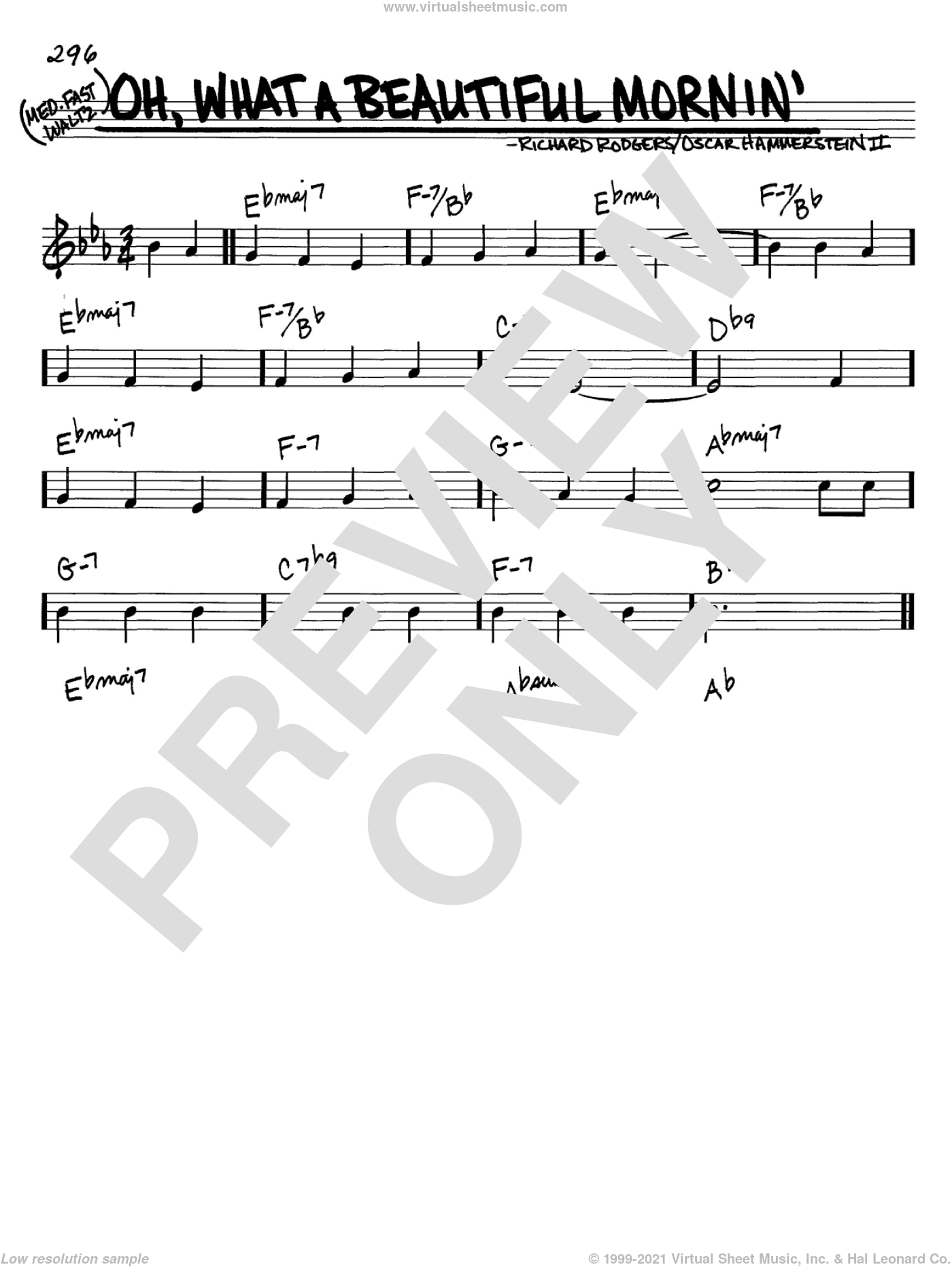 Oh, What A Beautiful Mornin' sheet music for voice and other instruments (C) by Richard Rodgers, Rodgers & Hammerstein and Oscar II Hammerstein. Score Image Preview.