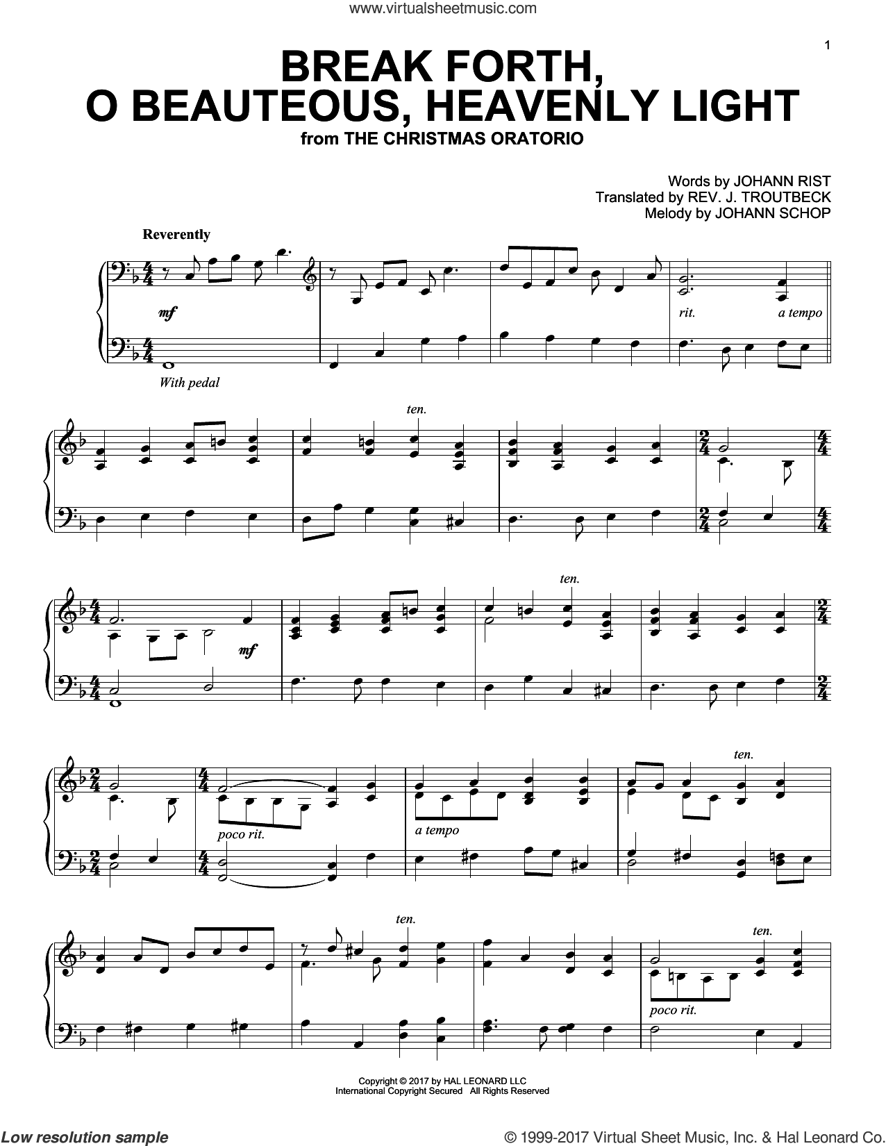 Break Forth, O Beauteous, Heavenly Light sheet music for piano solo by John Troutbeck (trans.), Johann Schop and Johann Sebastian Bach. Score Image Preview.
