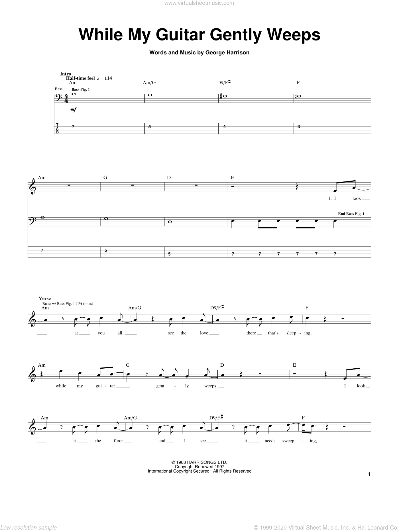 While My Guitar Gently Weeps sheet music for bass (tablature) (bass guitar) by The Beatles and George Harrison, intermediate