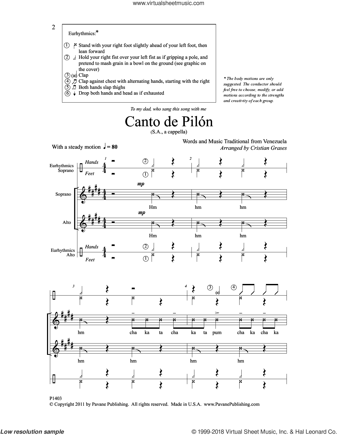 Canto de Pilon sheet music for choir by Cristian Grases, intermediate skill level